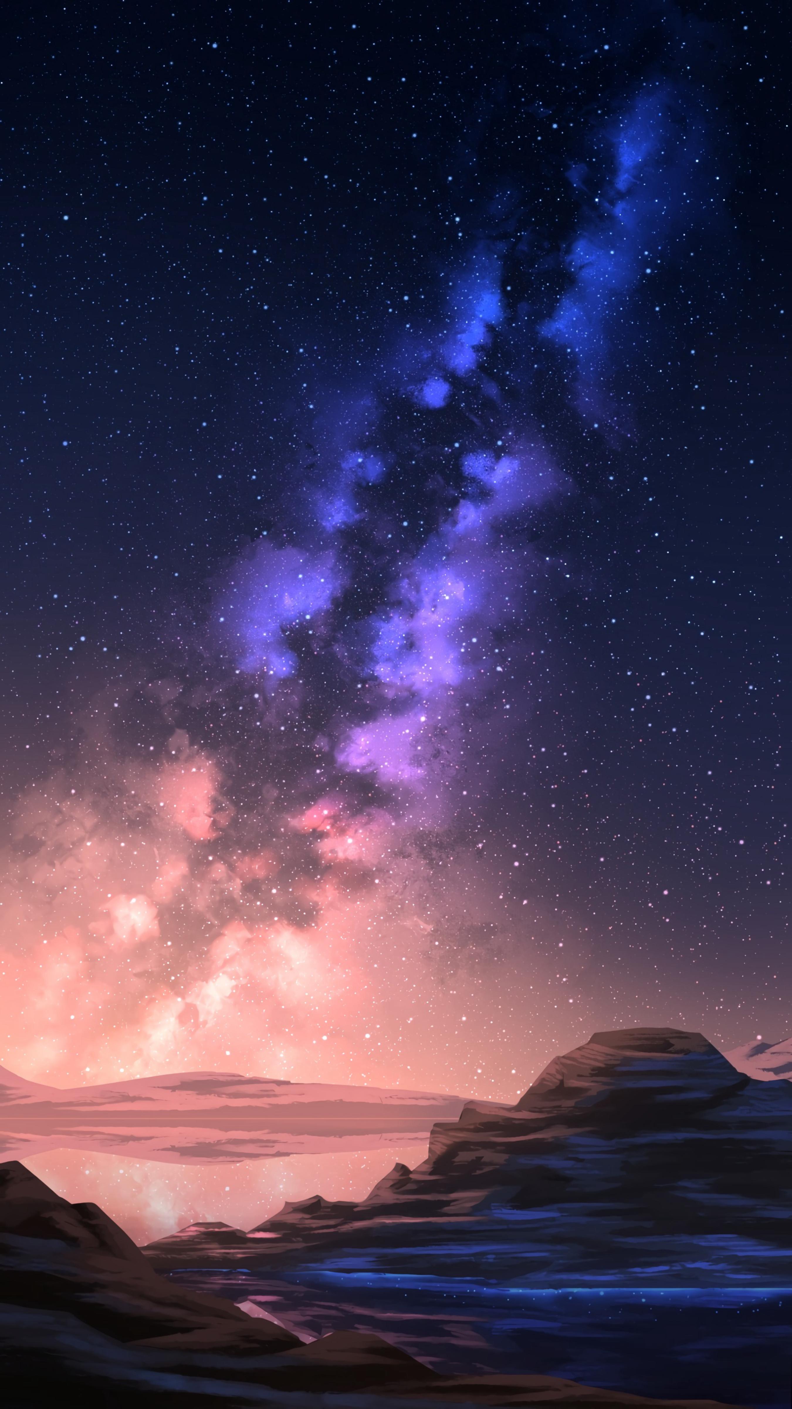 141387 скачать обои Арт, Звезды, Ночь, Гора, Звездное Небо - заставки и картинки бесплатно