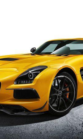 137694 завантажити Жовтий шпалери на телефон безкоштовно, Тачки, Mercedes-Benz, Мерседес-Бенц, Sls Amg, Машини Жовтий картинки і заставки на мобільний