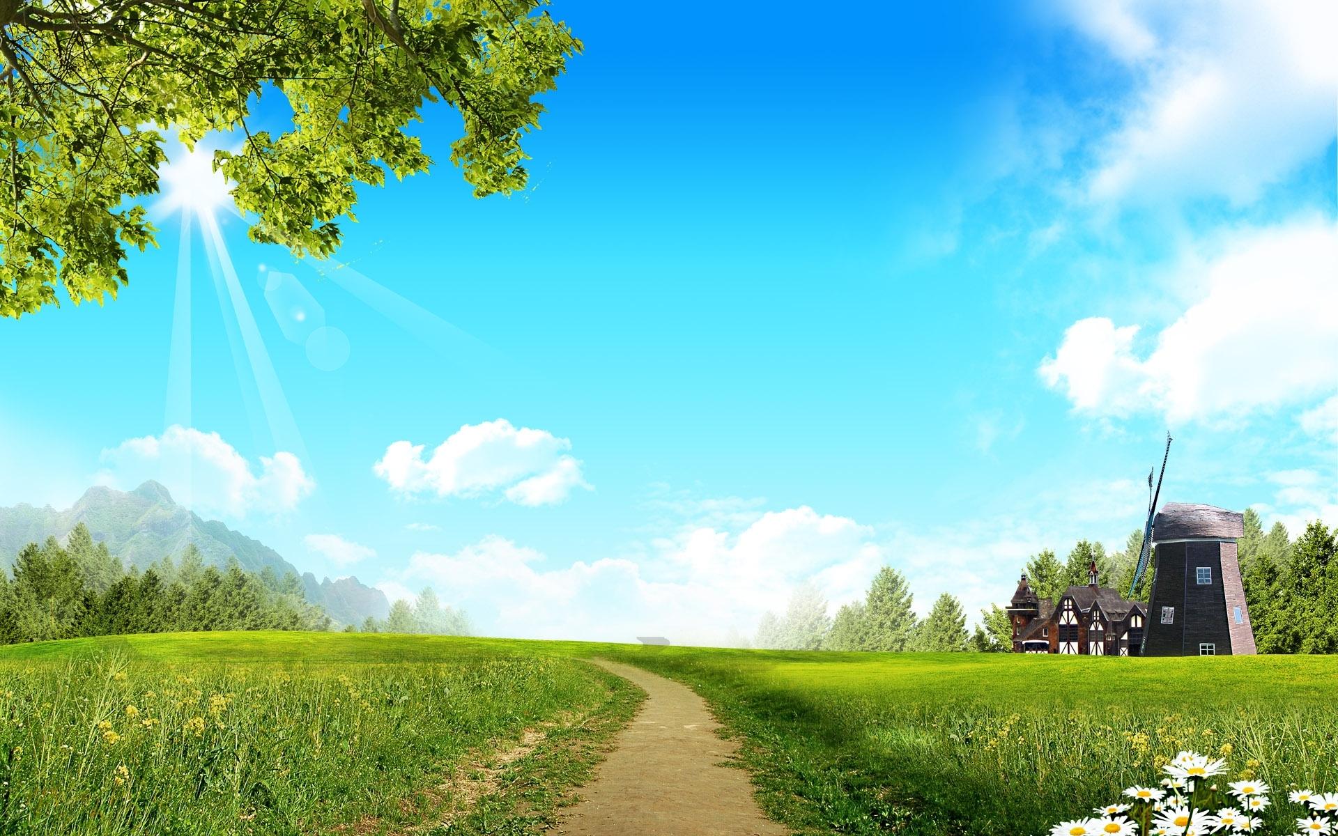40589 скачать обои Пейзаж, Поля, Дороги - заставки и картинки бесплатно