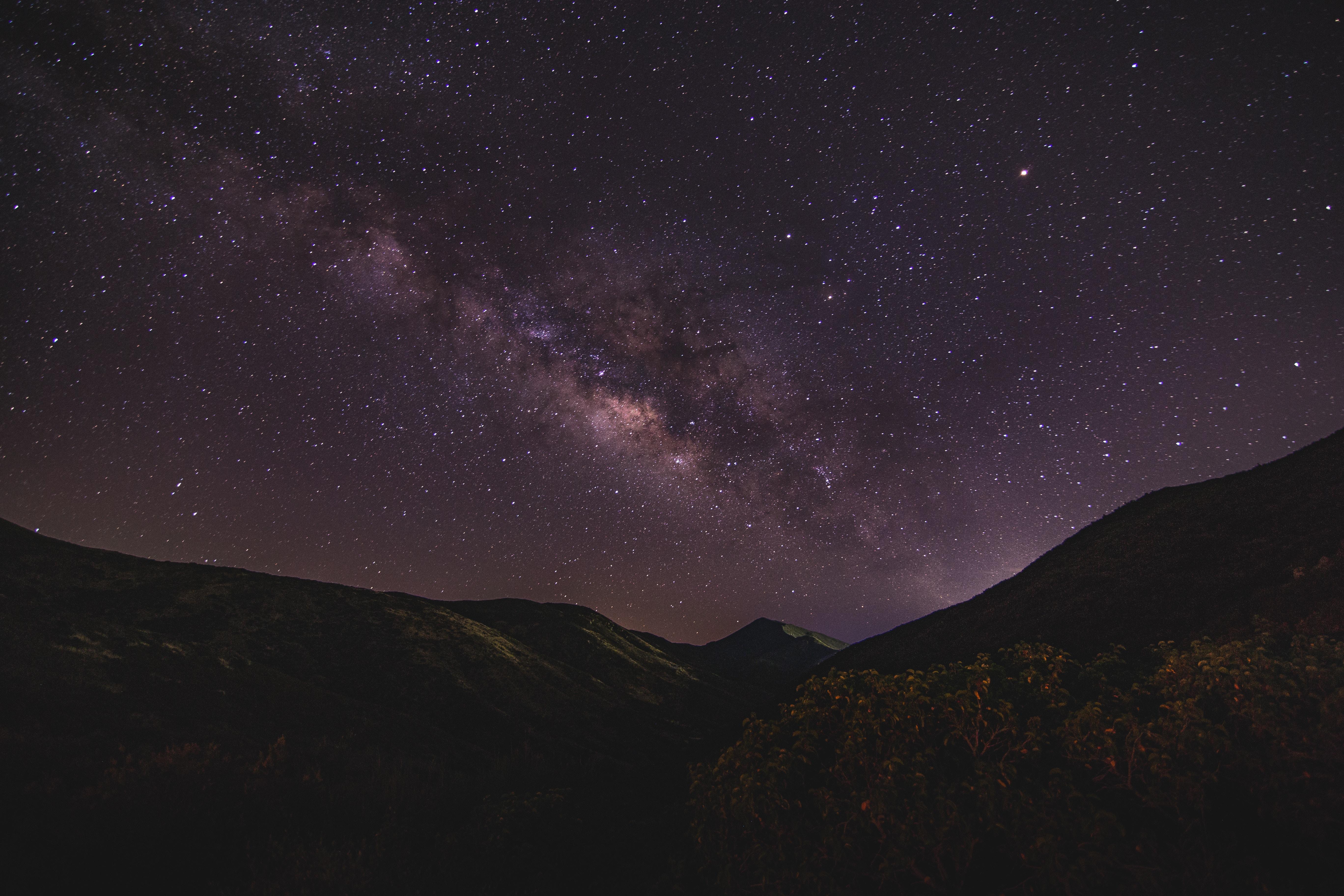 98730壁紙のダウンロード自然, 星空, ナイト, 天の川, 山脈-スクリーンセーバーと写真を無料で