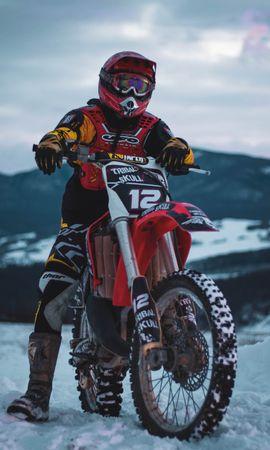141660 télécharger le fond d'écran Moto, Motocycliste, Motocyclette, Traverser, Croix, Neige, Hiver - économiseurs d'écran et images gratuitement