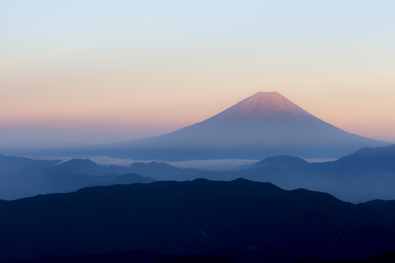 148164 download wallpaper Fuji, Nature, Mountain, Fog, Japan, Volcano, Fujiyama screensavers and pictures for free