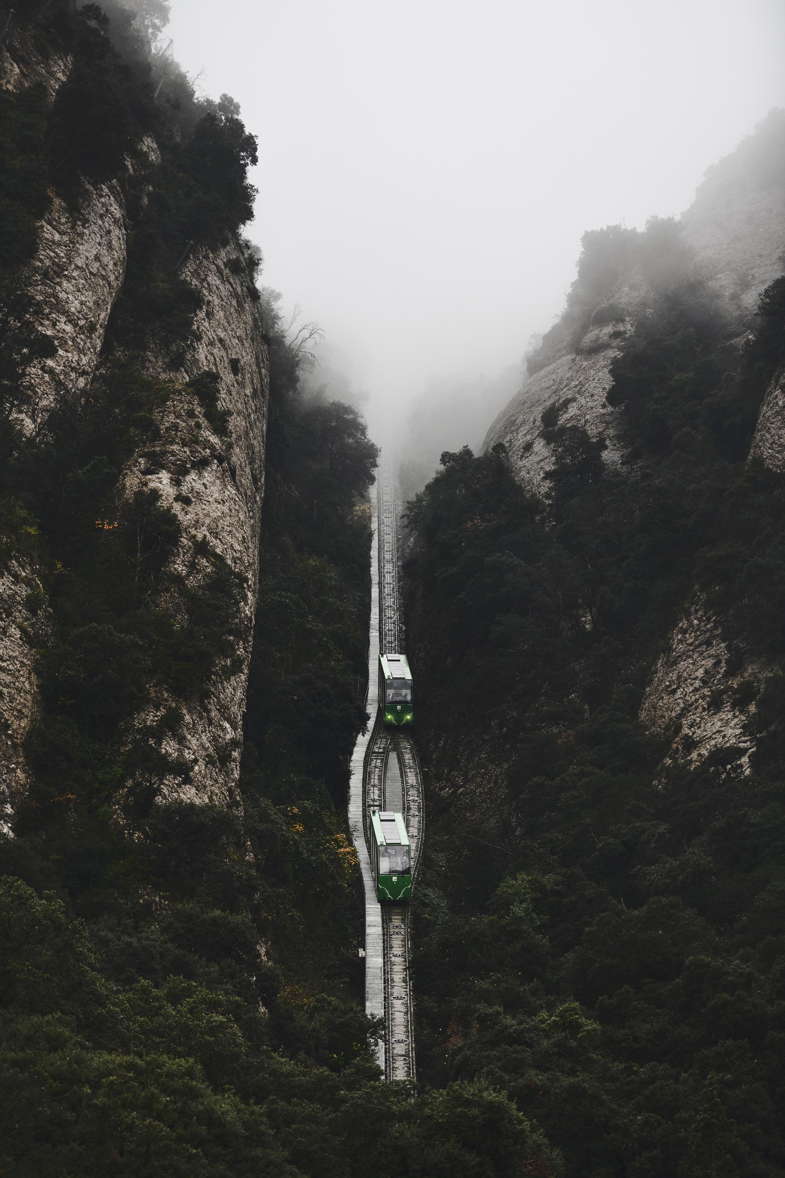 64916 скачать обои Природа, Железная Дорога, Туман, Поезда, Вид Сверху, Горы - заставки и картинки бесплатно
