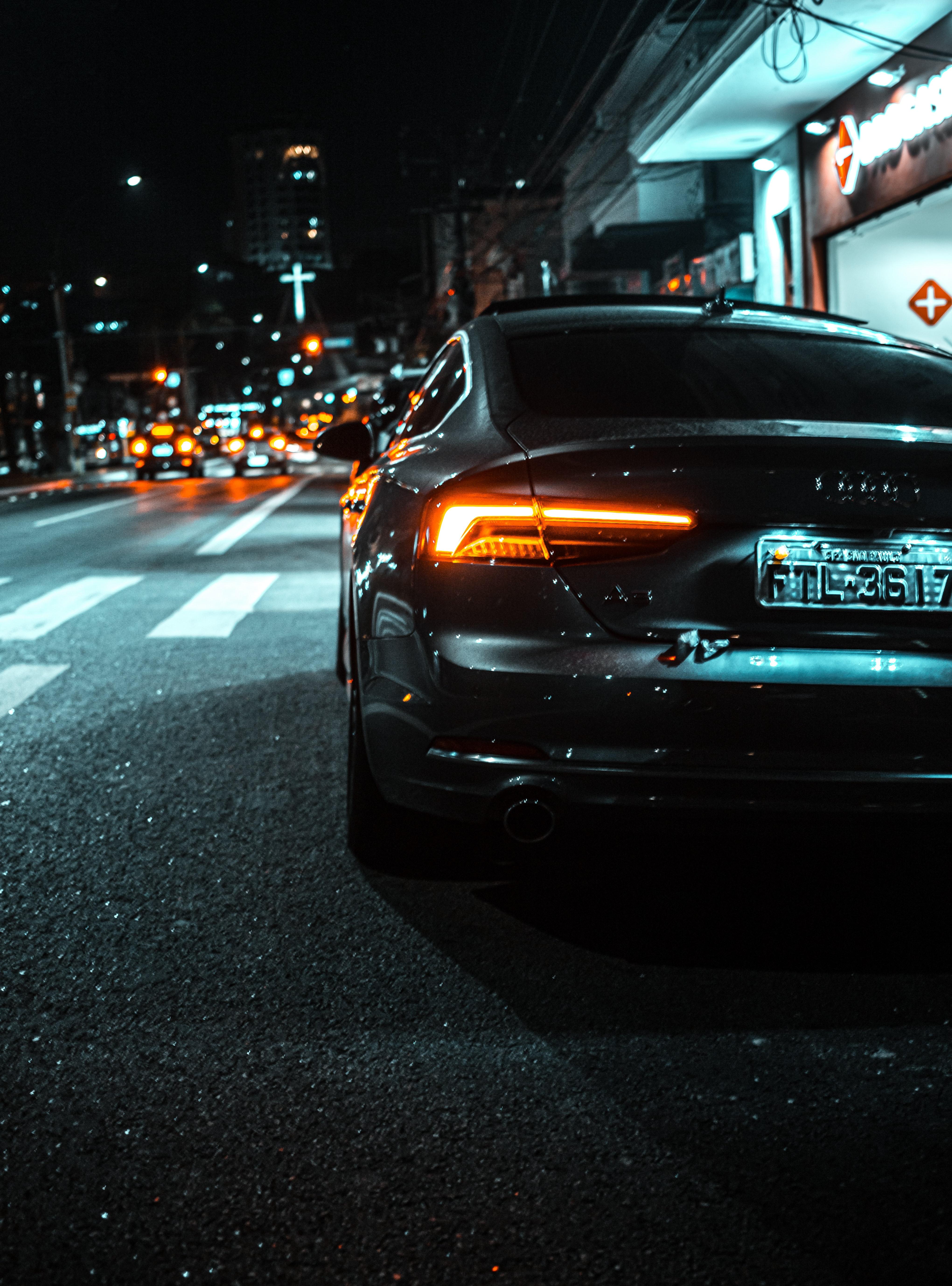 119722 скачать обои Ауди (Audi), Автомобиль, Черный, Audi A5, Тачки (Cars), Дорога, Фонарь, Вид Сзади - заставки и картинки бесплатно