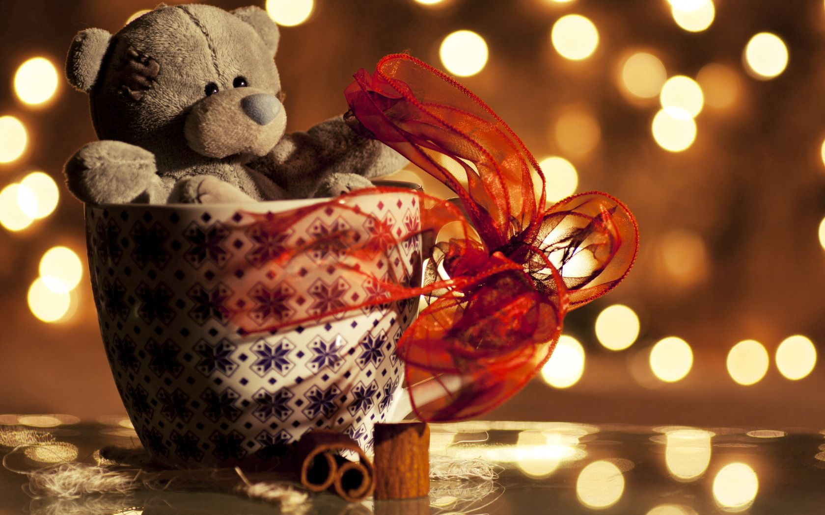 86027 Screensavers and Wallpapers Bear for phone. Download Miscellanea, Miscellaneous, Cup, Holiday, Bear, Plush, Tape, Ribbon pictures for free
