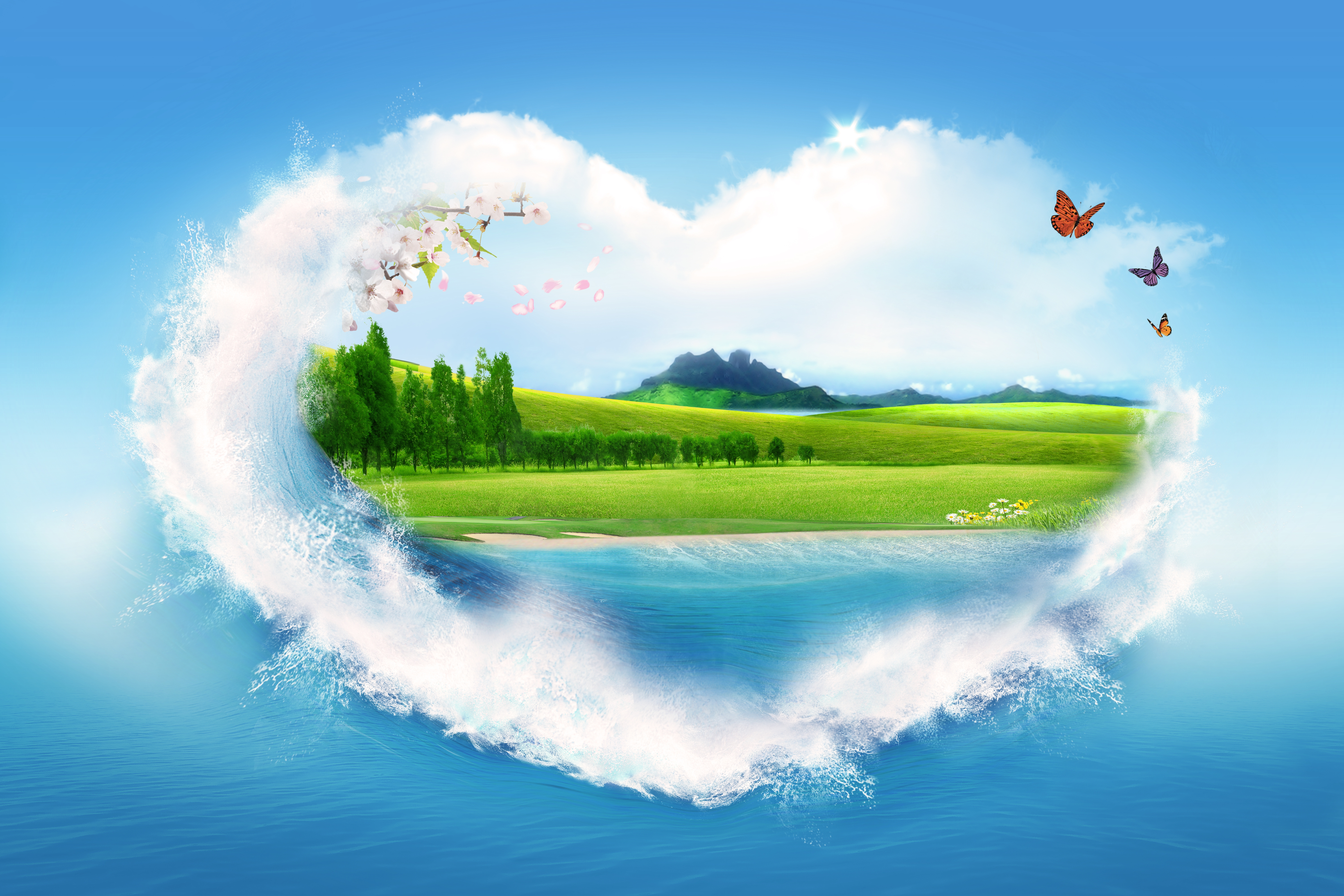 54911 Screensavers and Wallpapers Summer for phone. Download Miscellanea, Nature, Clouds, Summer, Miscellaneous, Picture, Drawing, Heart pictures for free