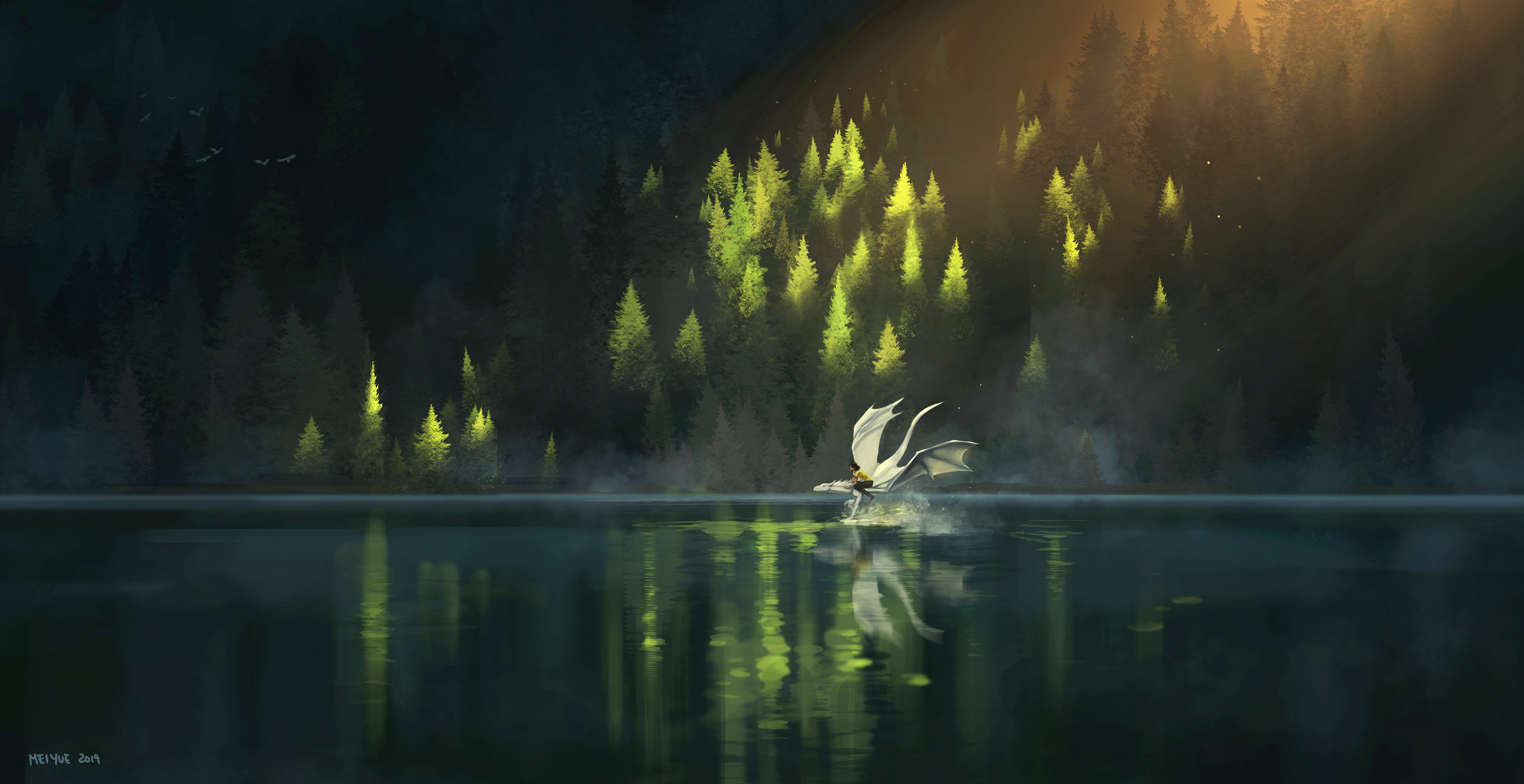51629 download wallpaper Dragon, Friends, Fantasy, Art screensavers and pictures for free