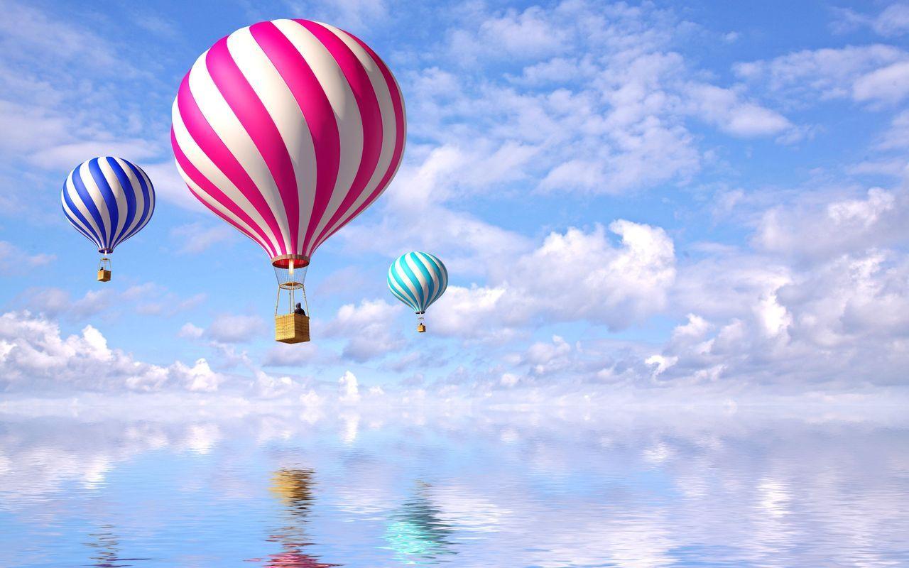 12687 скачать обои Транспорт, Небо, Море, Воздушные Шары - заставки и картинки бесплатно