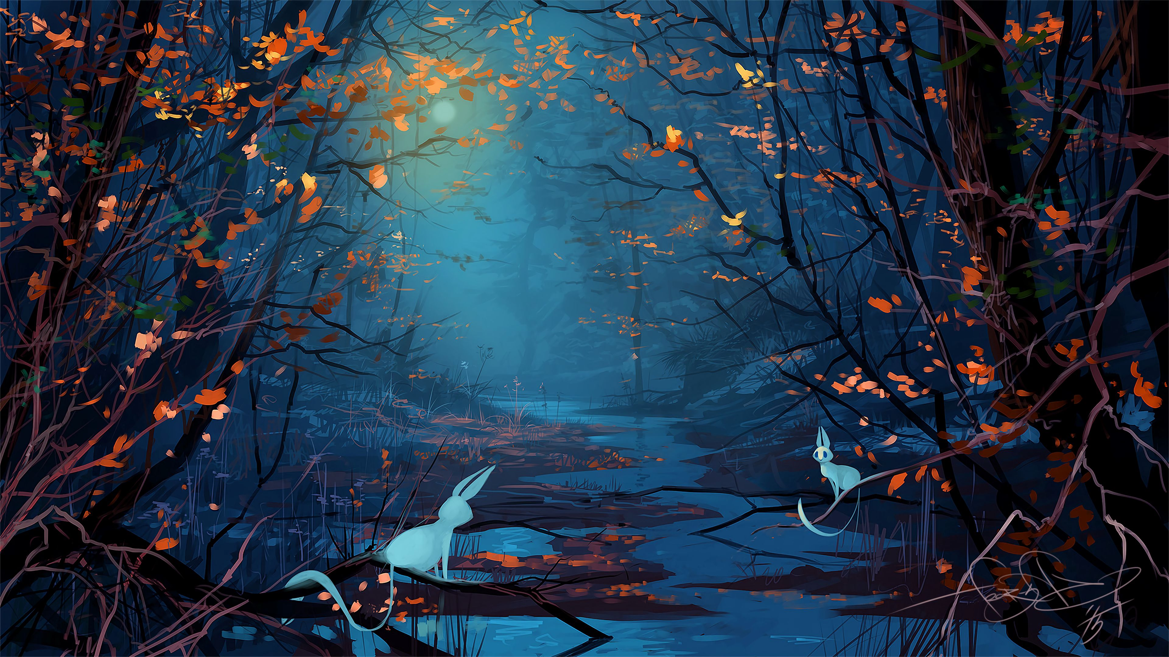 92551 download wallpaper Rivers, Art, Silhouette, Forest, Beasts screensavers and pictures for free