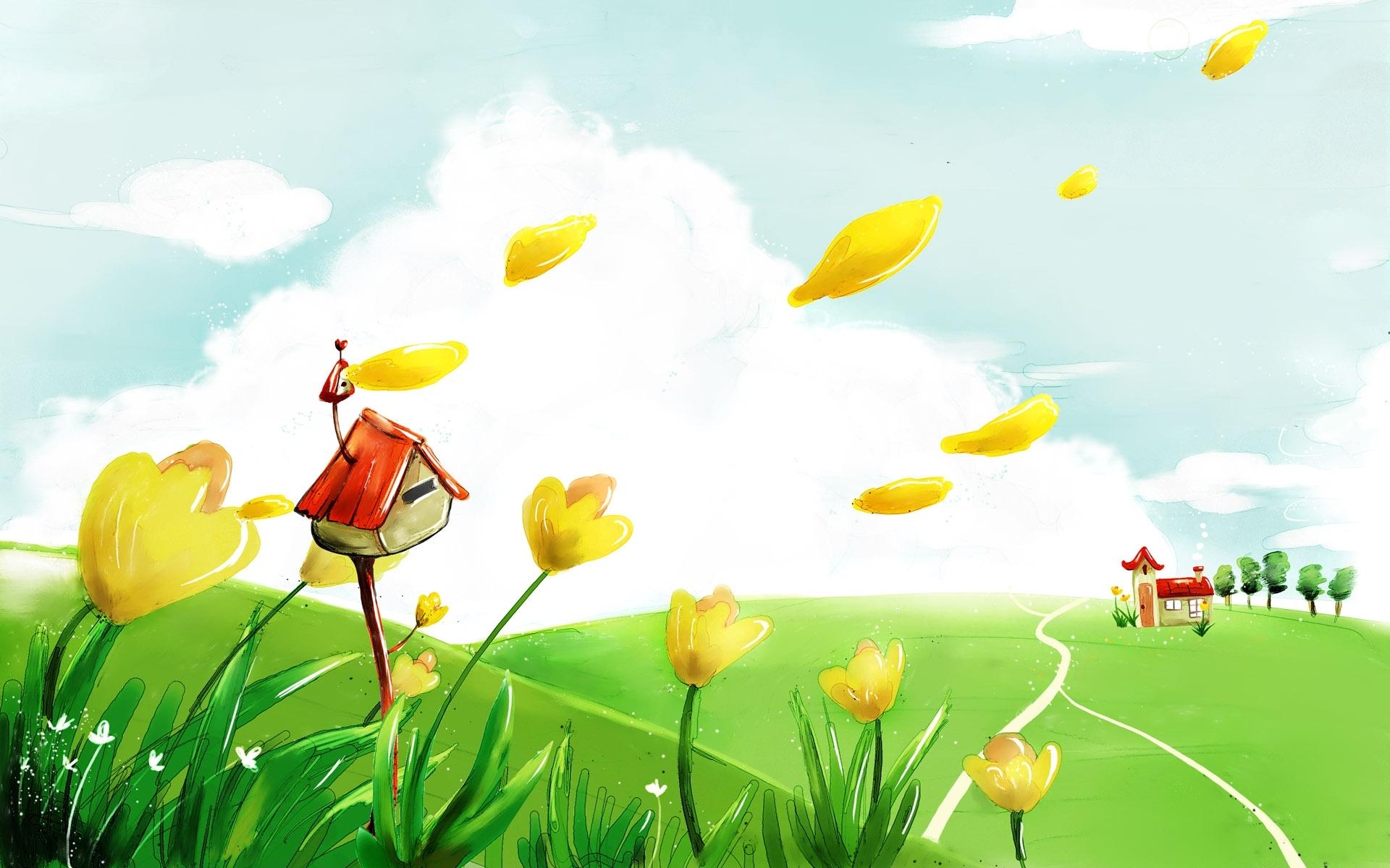 Скачать картинку Цветы, Природа, Рисунки, Растения, Пейзаж в телефон бесплатно.