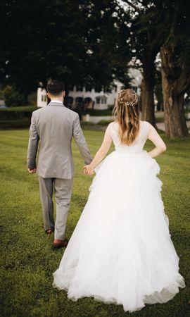 57275 Заставки и Обои Свадьба на телефон. Скачать Любовь, Свадьба, Влюбленные, Трава картинки бесплатно