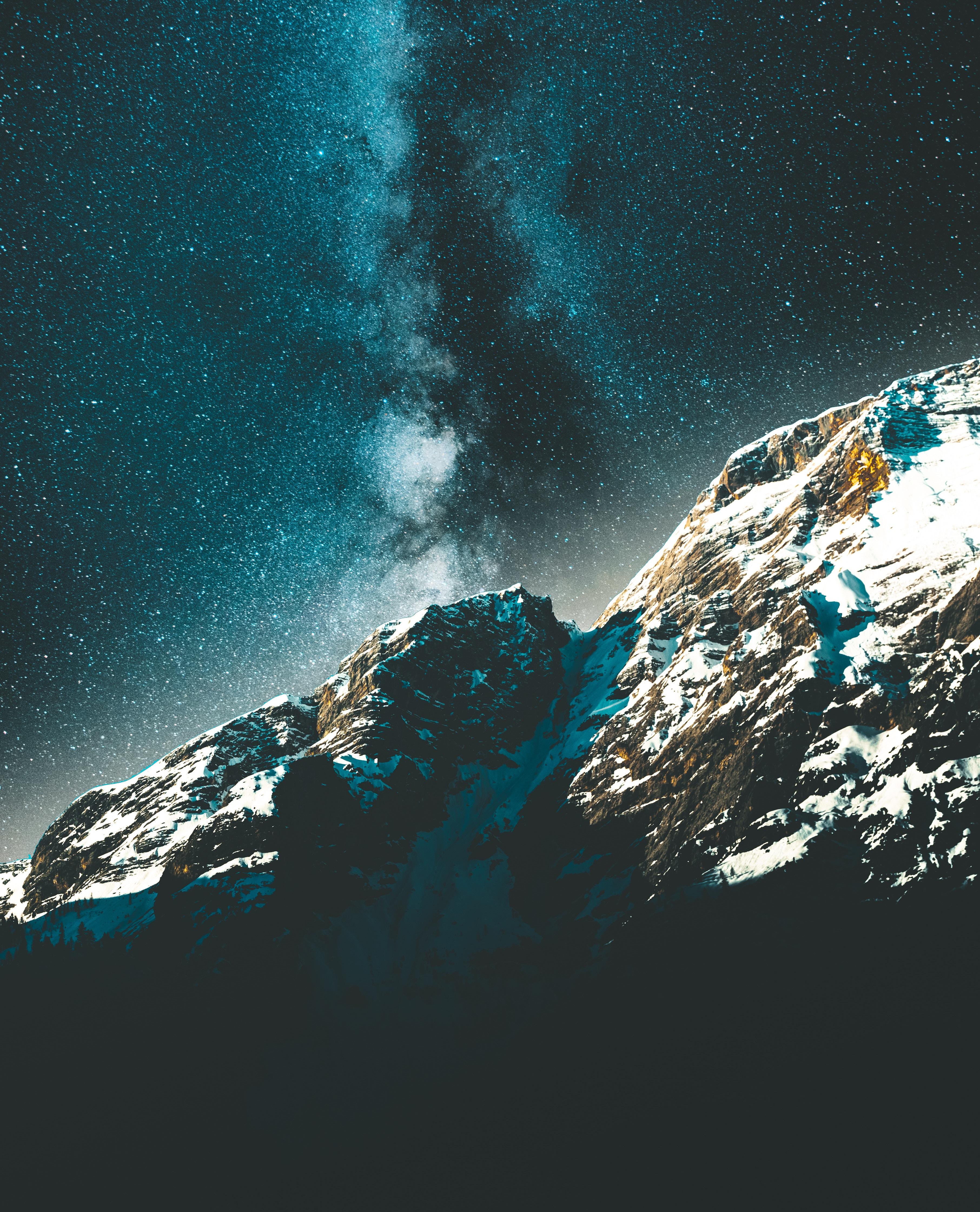 83671 Hintergrundbild 720x1280 kostenlos auf deinem Handy, lade Bilder Natur, Mountains, Sterne, Übernachtung, Sternenhimmel, Die Milchstrasse, Milchstraße, Schneebedeckt, Snowbound 720x1280 auf dein Handy herunter