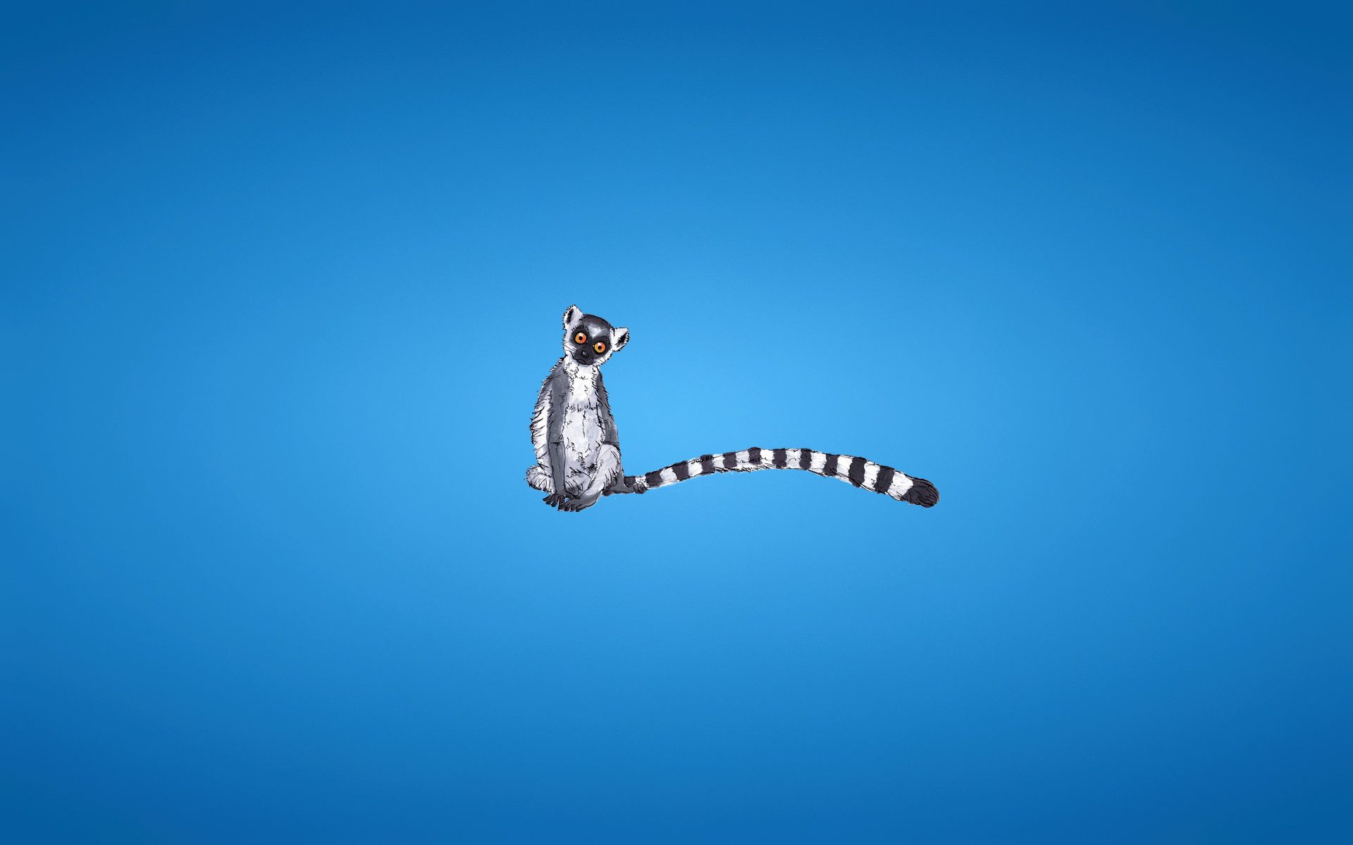 127654 download wallpaper Vector, Lemur, Blue Background, Tail, Striped, Minimalism screensavers and pictures for free