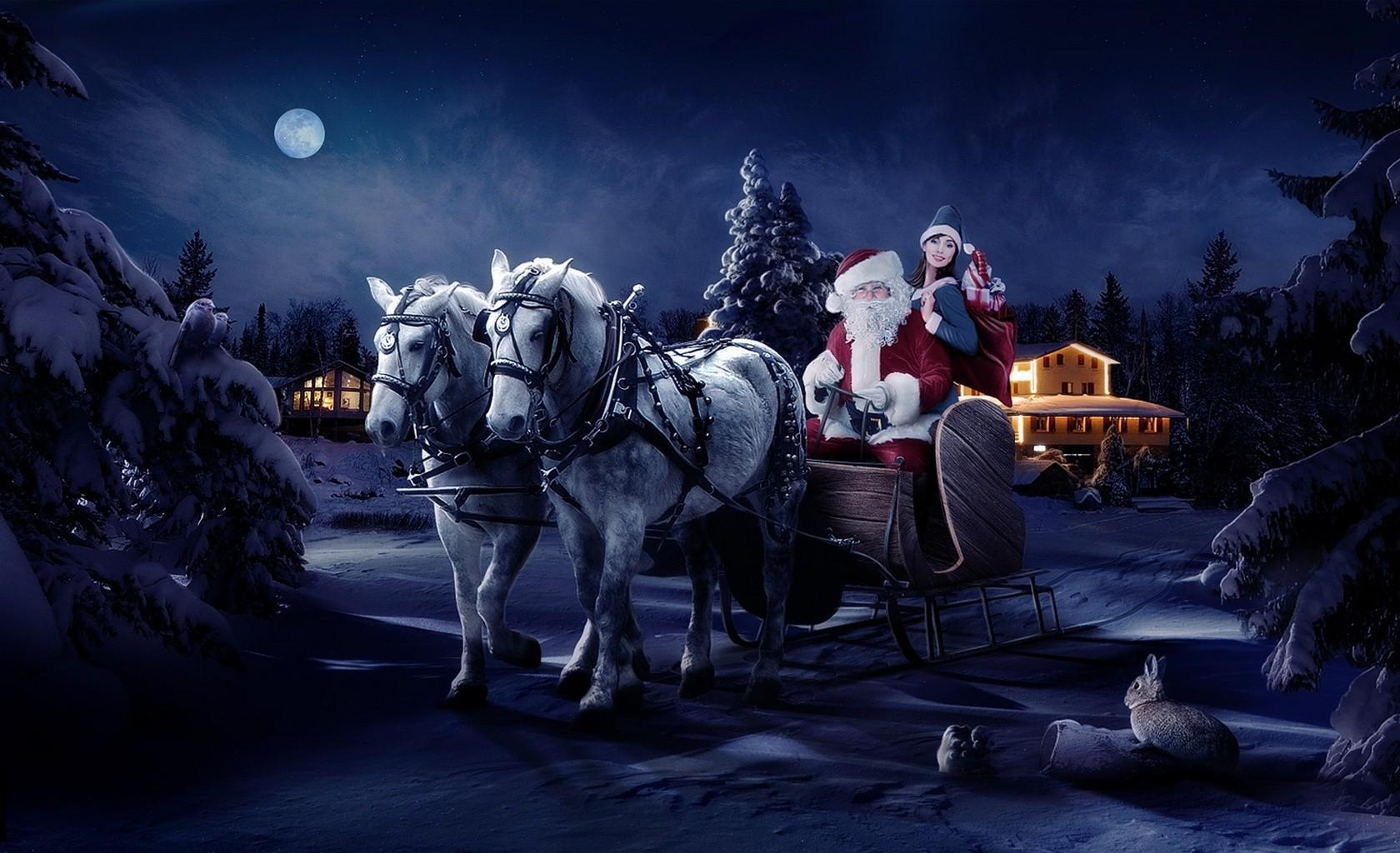 78844 скачать обои Праздники, Санта Клаус, Сани, Девушка, Лошади, Ночь, Рождество, Мешок, Подарки, Елки - заставки и картинки бесплатно