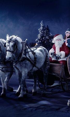 78844 baixar papel de parede Férias, Papai Noel, Trenó, Menina, Garota, Cavalos, Noite, Natal, Sacola, Saco, Presentes, Figueiras - protetores de tela e imagens gratuitamente