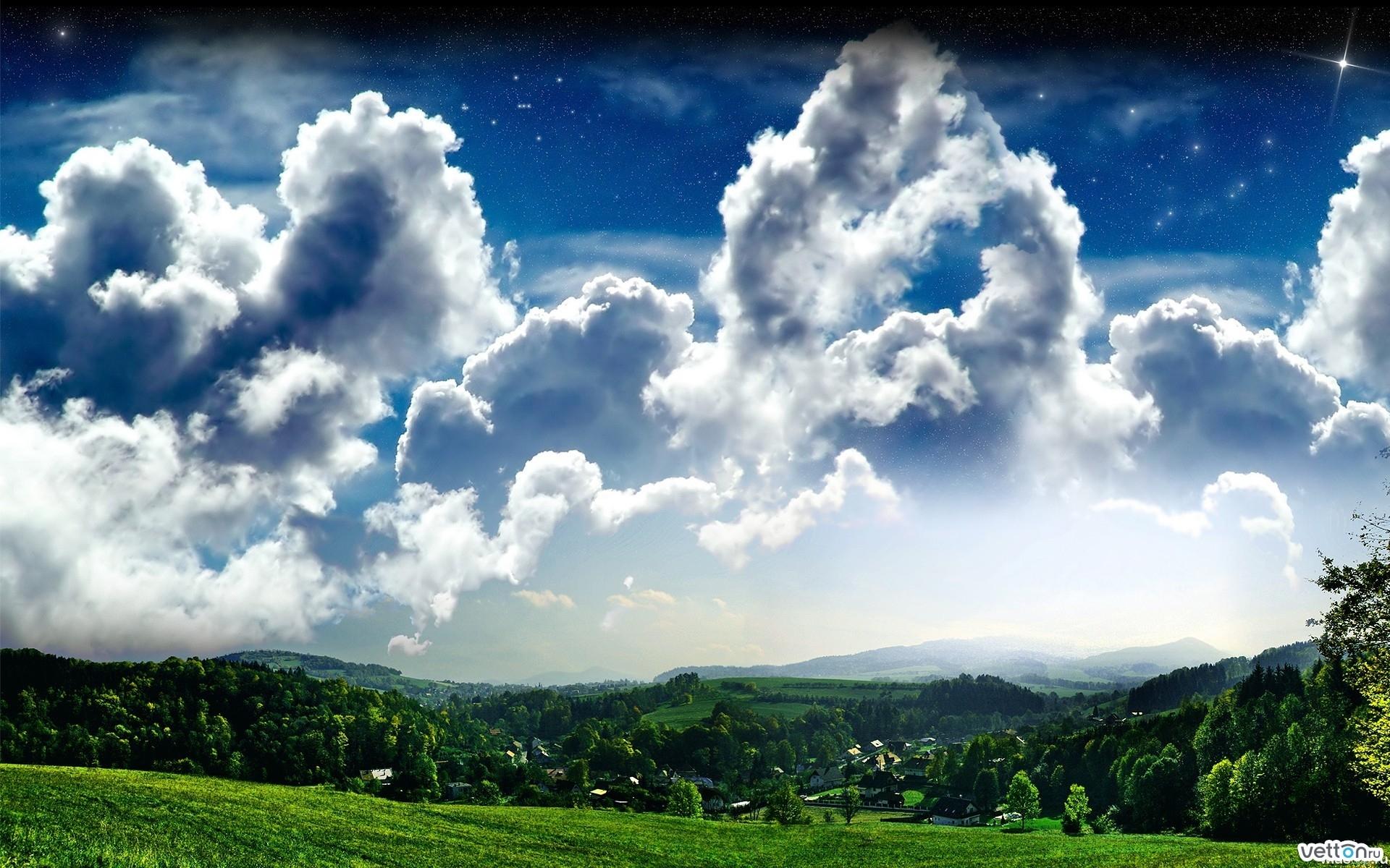 25784 скачать обои Пейзаж, Поля, Небо, Звезды, Облака - заставки и картинки бесплатно