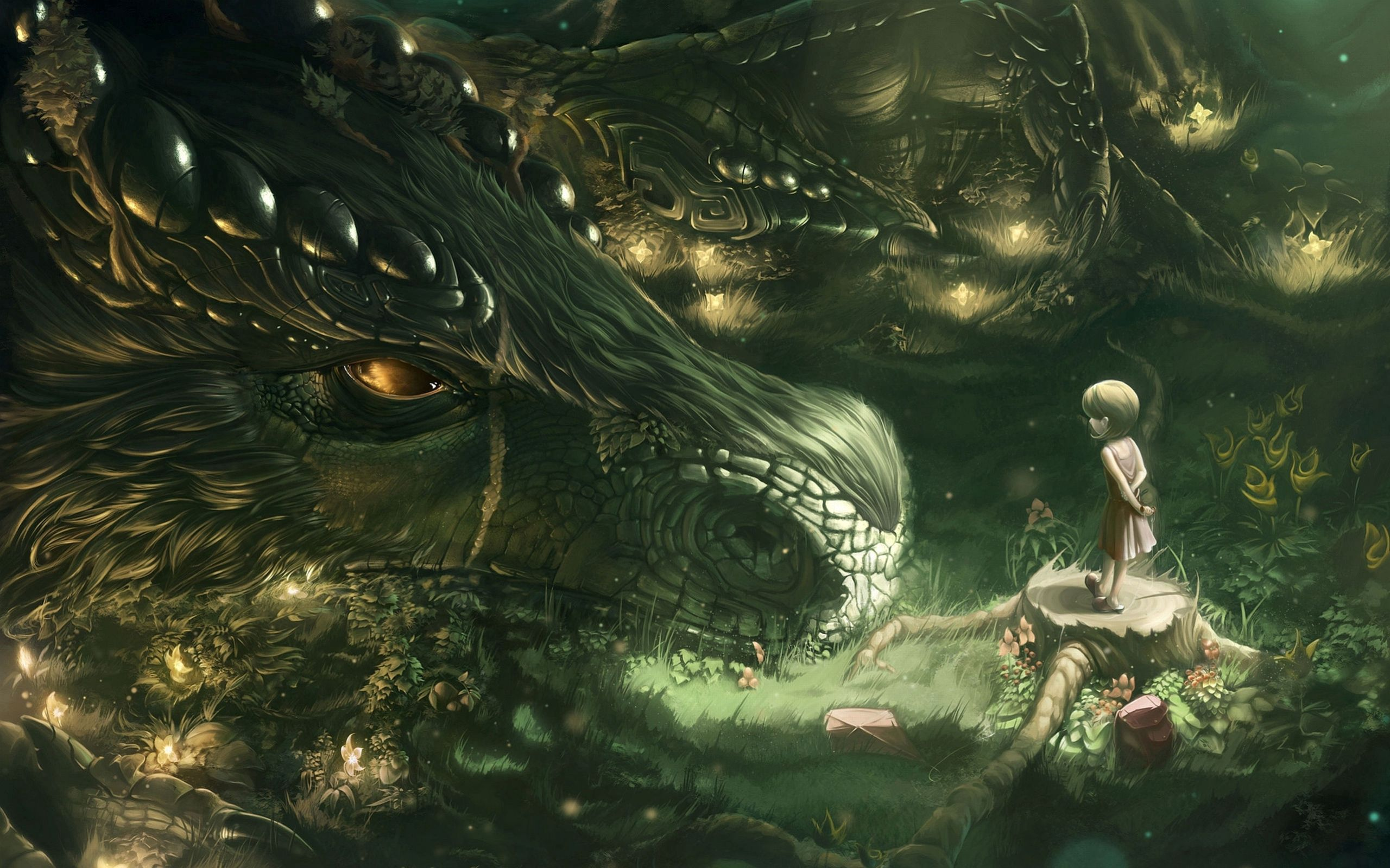 122683 download wallpaper Fantasy, Girl, Art, Forest, Dragon screensavers and pictures for free