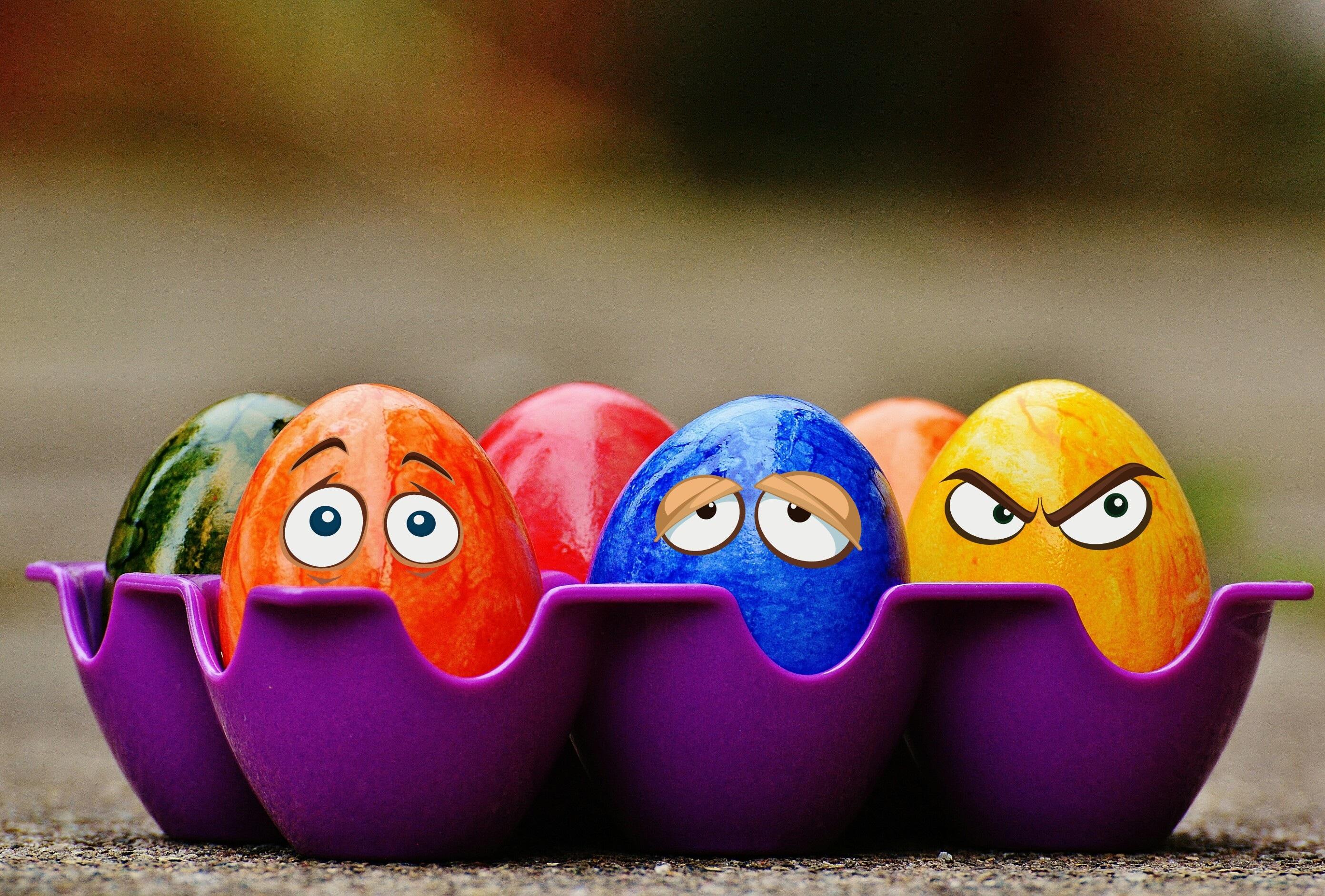99291 Hintergrundbild herunterladen Feiertage, Eggs, Ostern, Augen, Emotionen - Bildschirmschoner und Bilder kostenlos