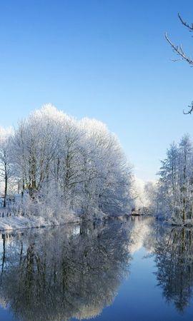 19310 скачать обои Пейзаж, Зима, Река, Деревья - заставки и картинки бесплатно