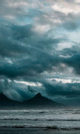 136481壁紙のダウンロード自然, 海洋, 大洋, サーフ, 岩, 雲, 主に曇り, どんよりした, 嵐-スクリーンセーバーと写真を無料で