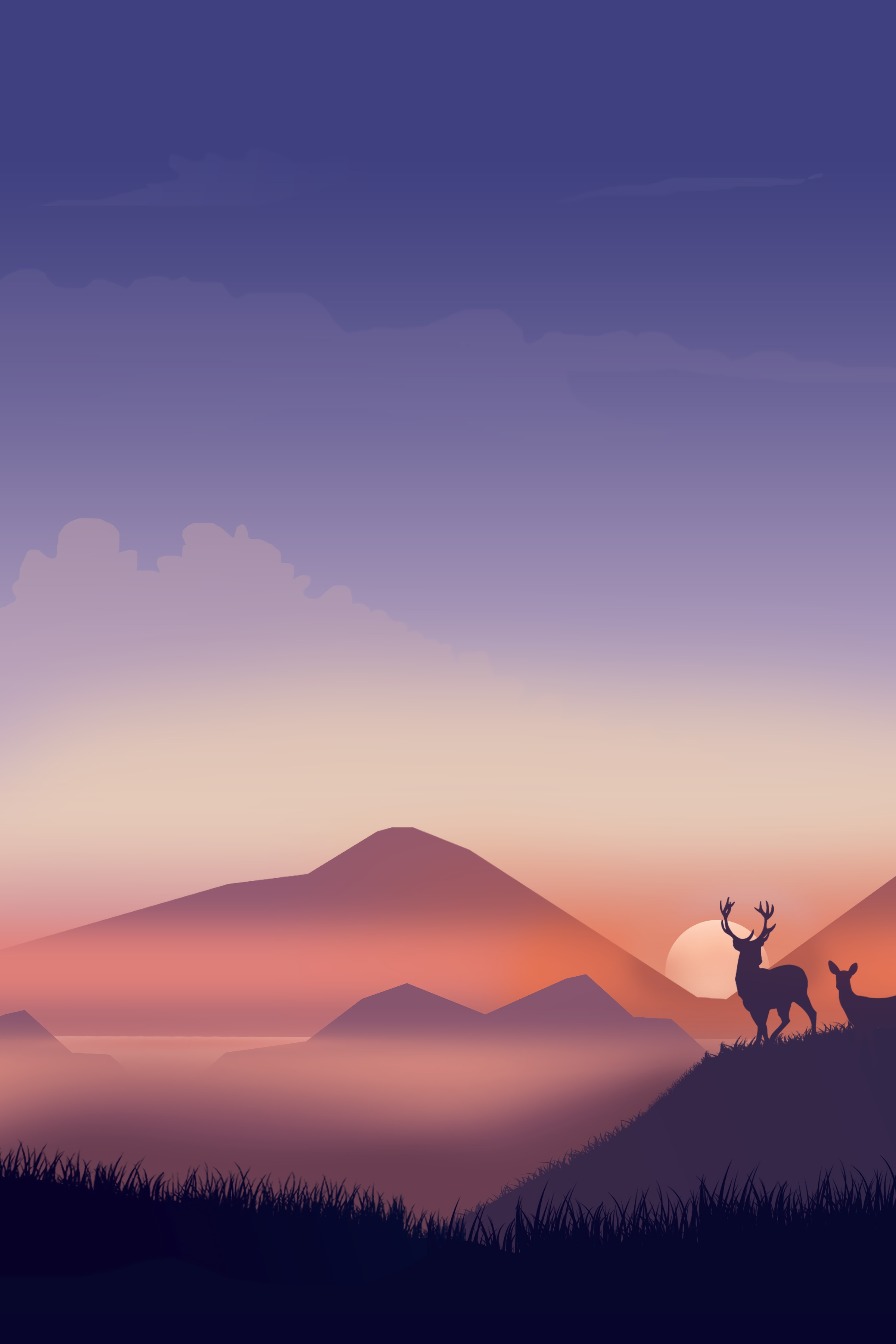 77512 download wallpaper Vector, Deers, Silhouettes, Wildlife, Art screensavers and pictures for free