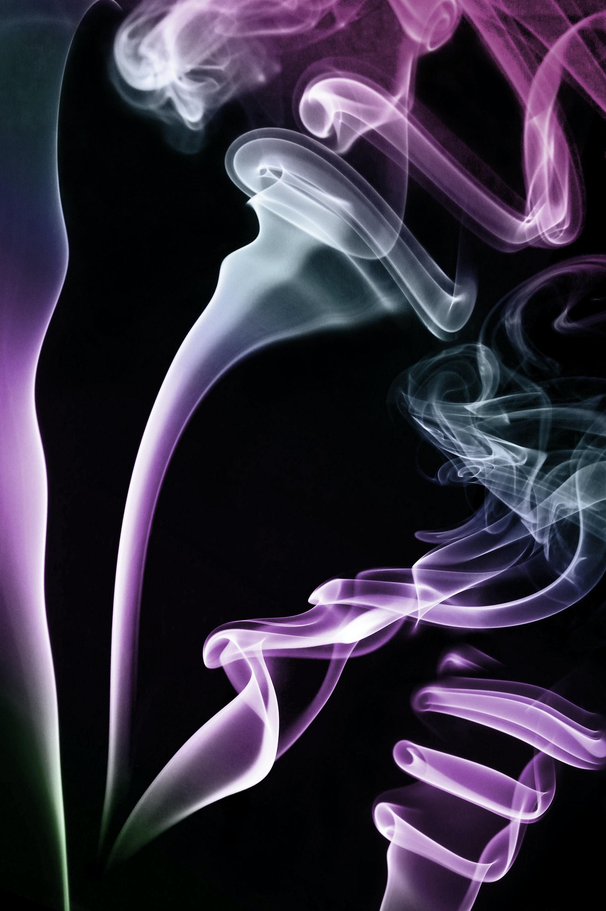 101081 免費下載壁紙 抽象, 云, 云端, 绕线, 蜿蜒, 紫色的, 吸烟 屏保和圖片