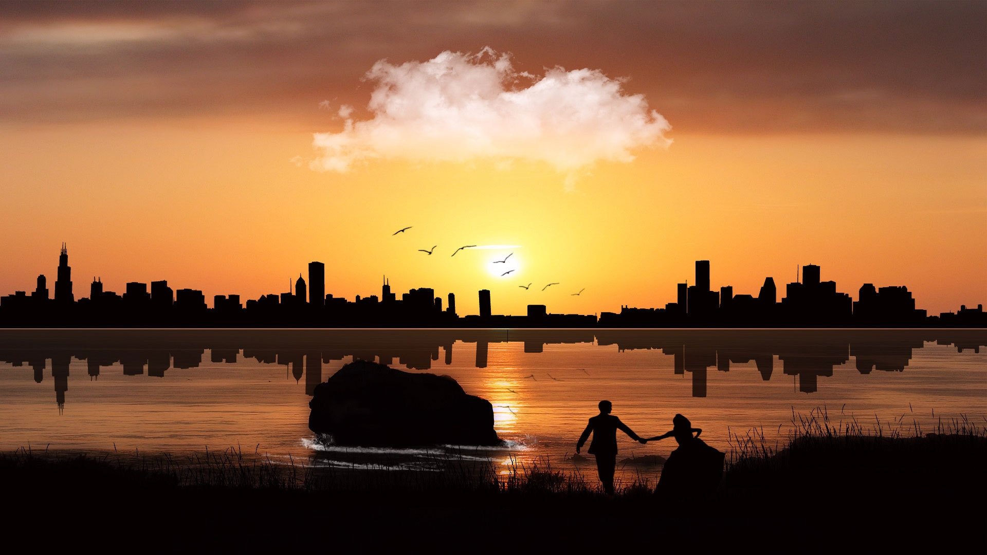 Скачать картинку Люди, Закат, Пейзаж в телефон бесплатно.