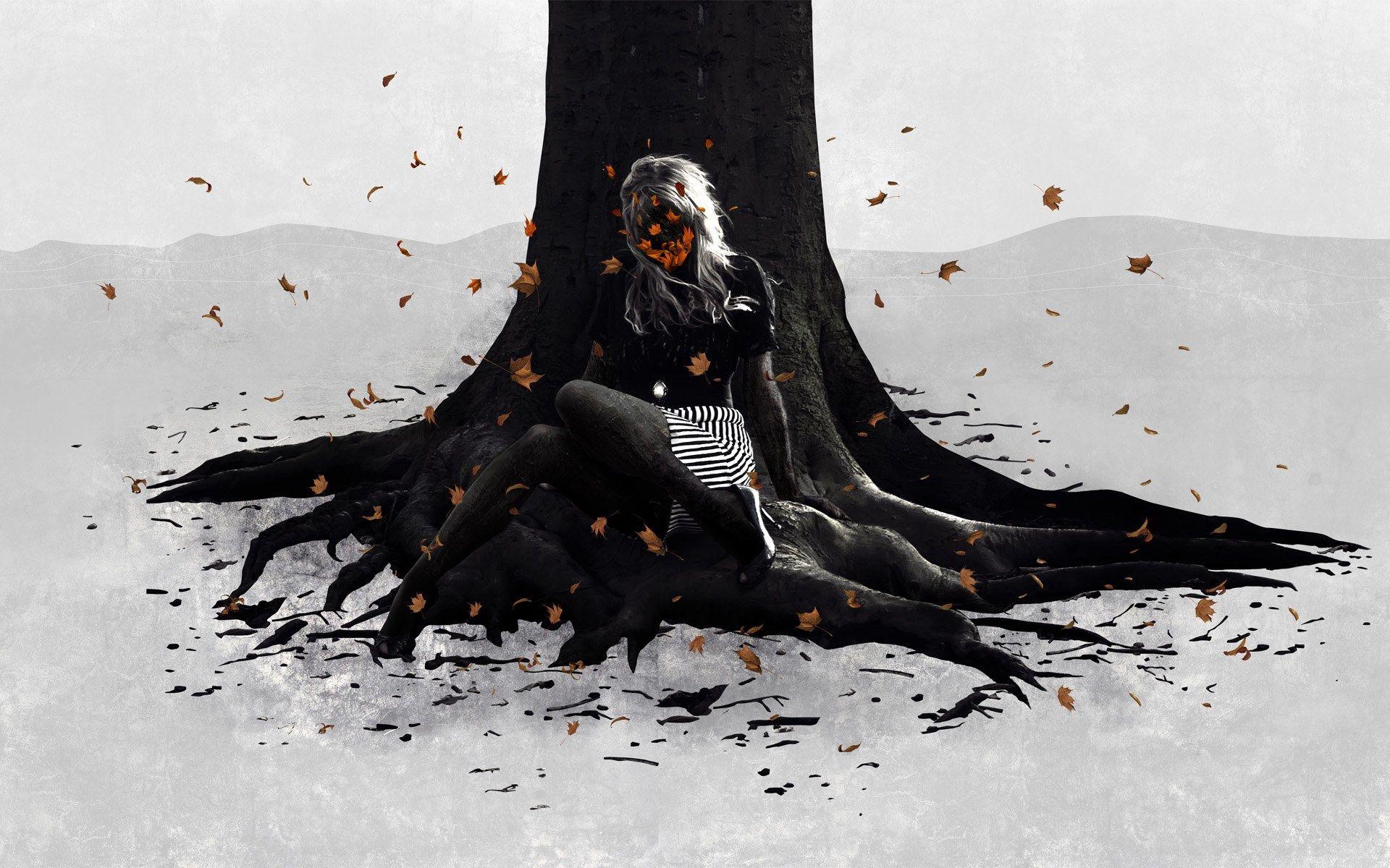 96726 скачать обои Вектор, Девушка, Дерево, Осень, Листва, Настроение - заставки и картинки бесплатно