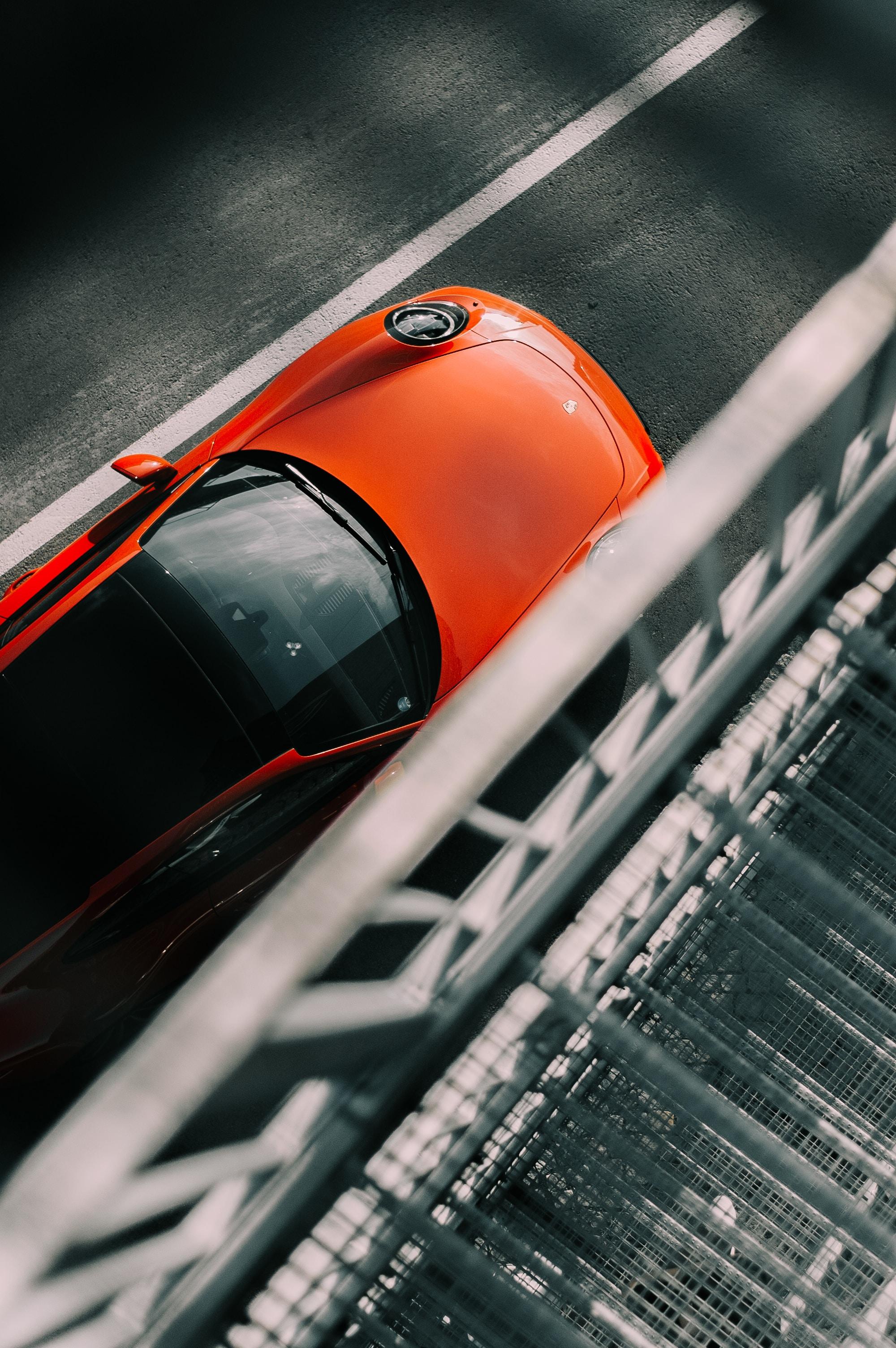 127504 скачать обои Асфальт, Порш (Porsche), Тачки (Cars), Вид Сверху, Красный, Машина - заставки и картинки бесплатно