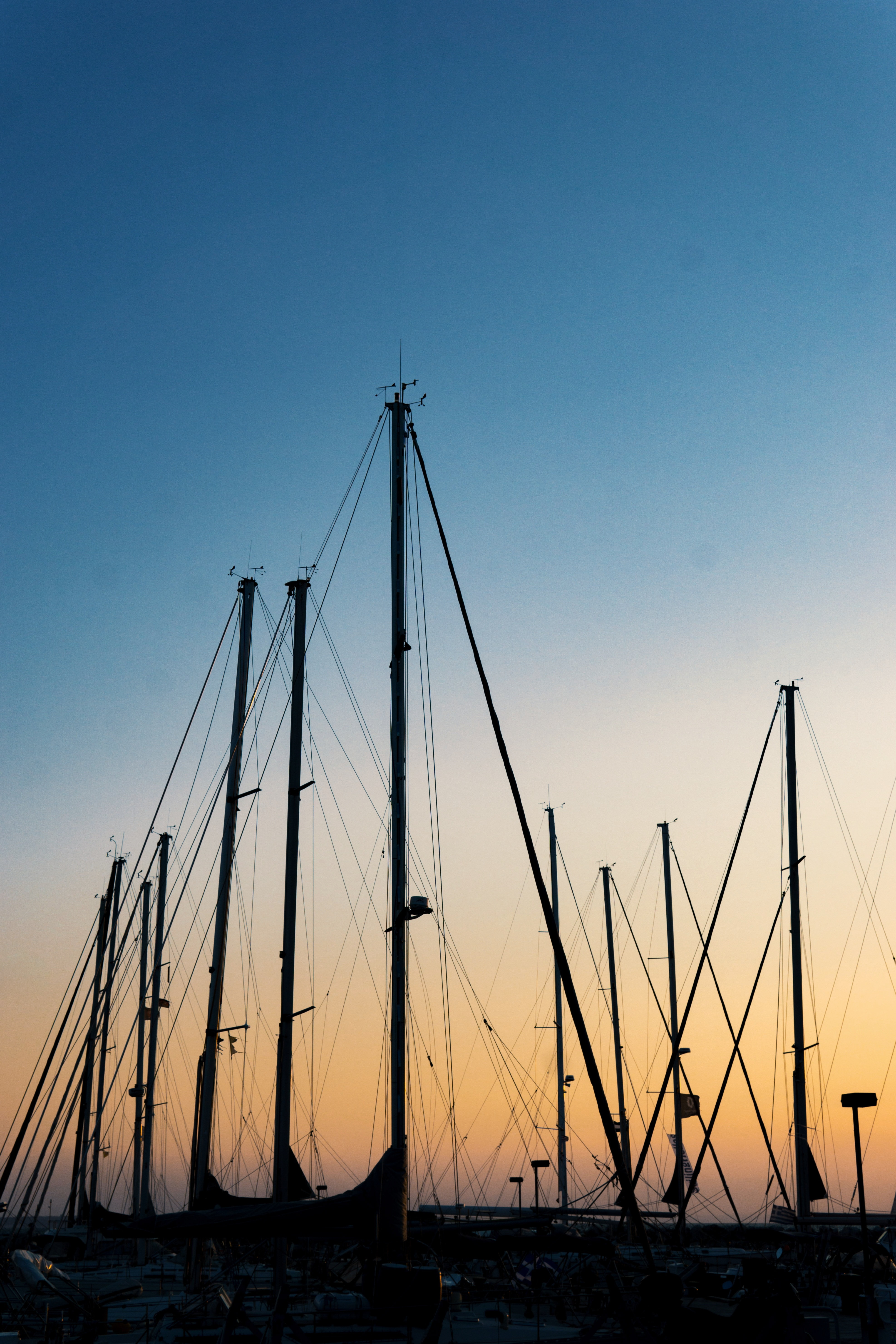 73594 download wallpaper Dark, Port, Ships, Masts, Mast, Dusk, Twilight screensavers and pictures for free