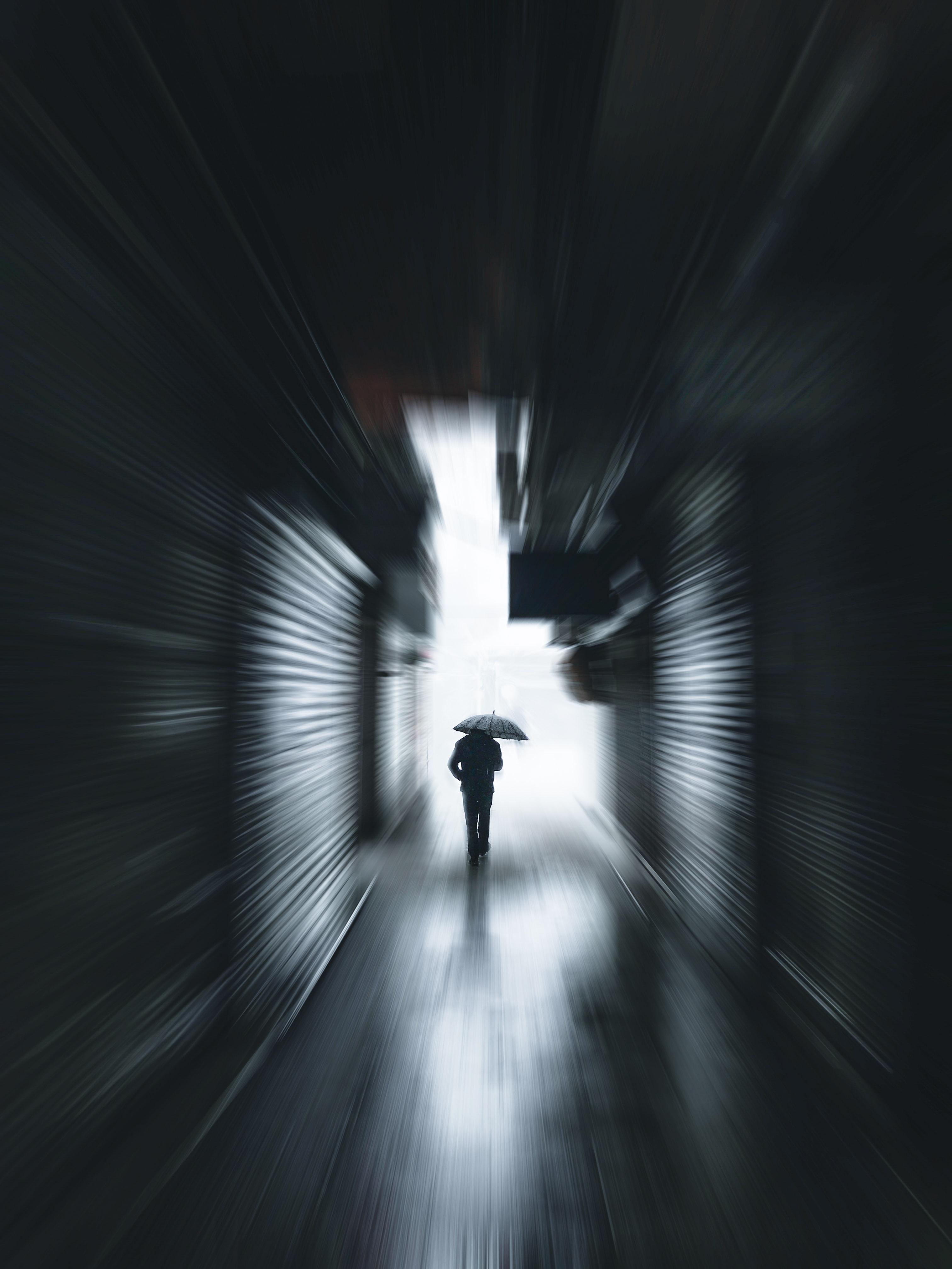 91771壁紙のダウンロードその他, 雑, 人間, 人, シルエット, 傘, トンネル, 孤独, 寂しさ-スクリーンセーバーと写真を無料で