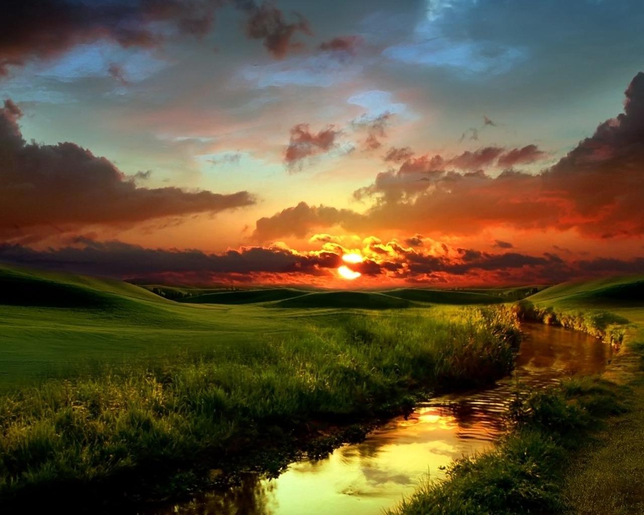 2730 скачать обои Пейзаж, Река, Закат, Трава, Небо, Солнце - заставки и картинки бесплатно