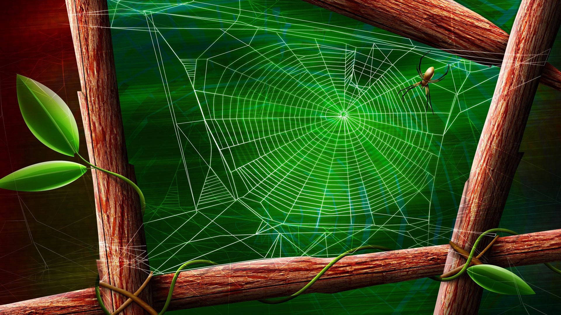 119247 download wallpaper Vector, Web, Leaves, Wood, Wooden, Branches, Spider screensavers and pictures for free