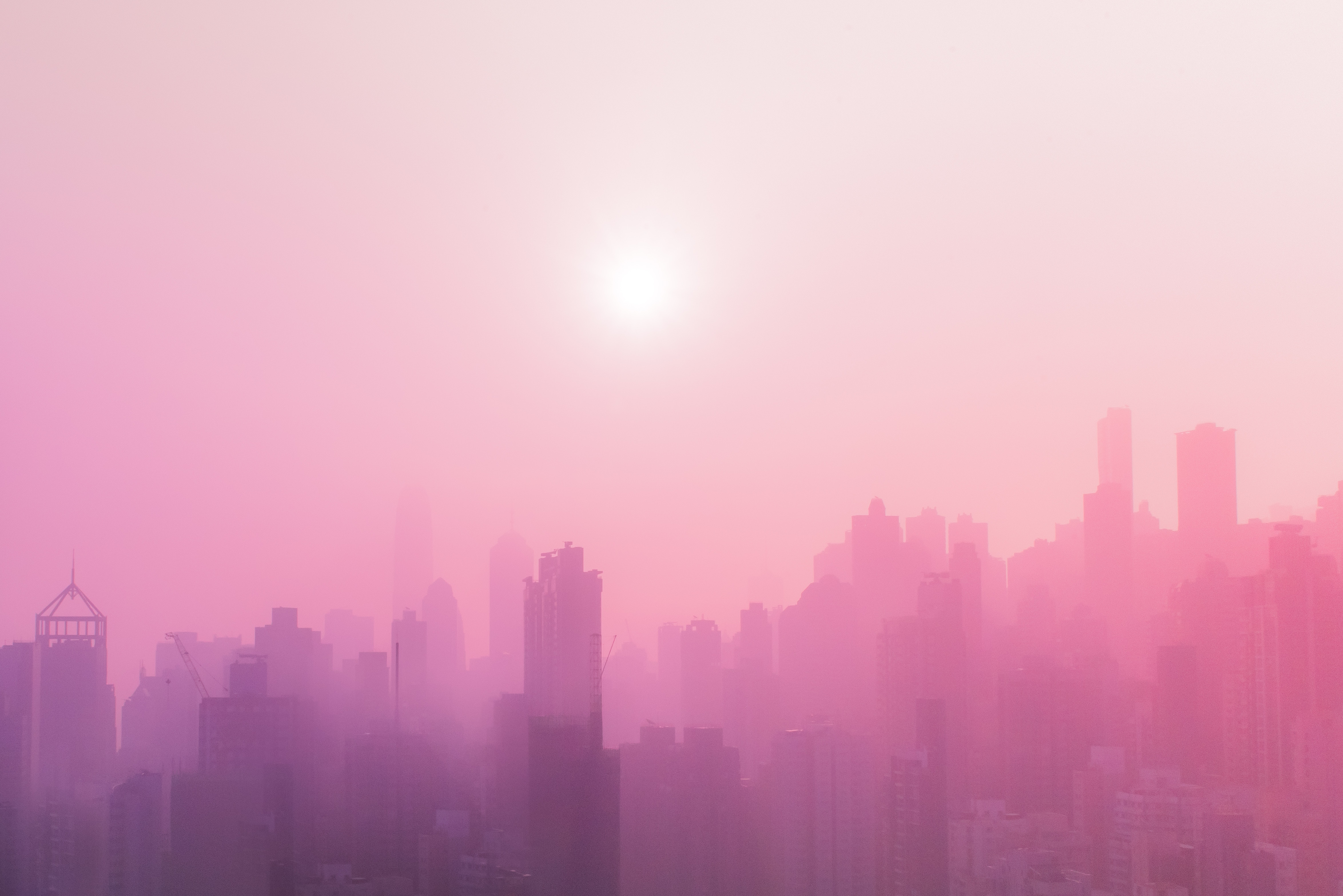 65564 download wallpaper City, Fog, Building, Skyscrapers, Urban Landscape, Cityscape, Cities, Sun screensavers and pictures for free