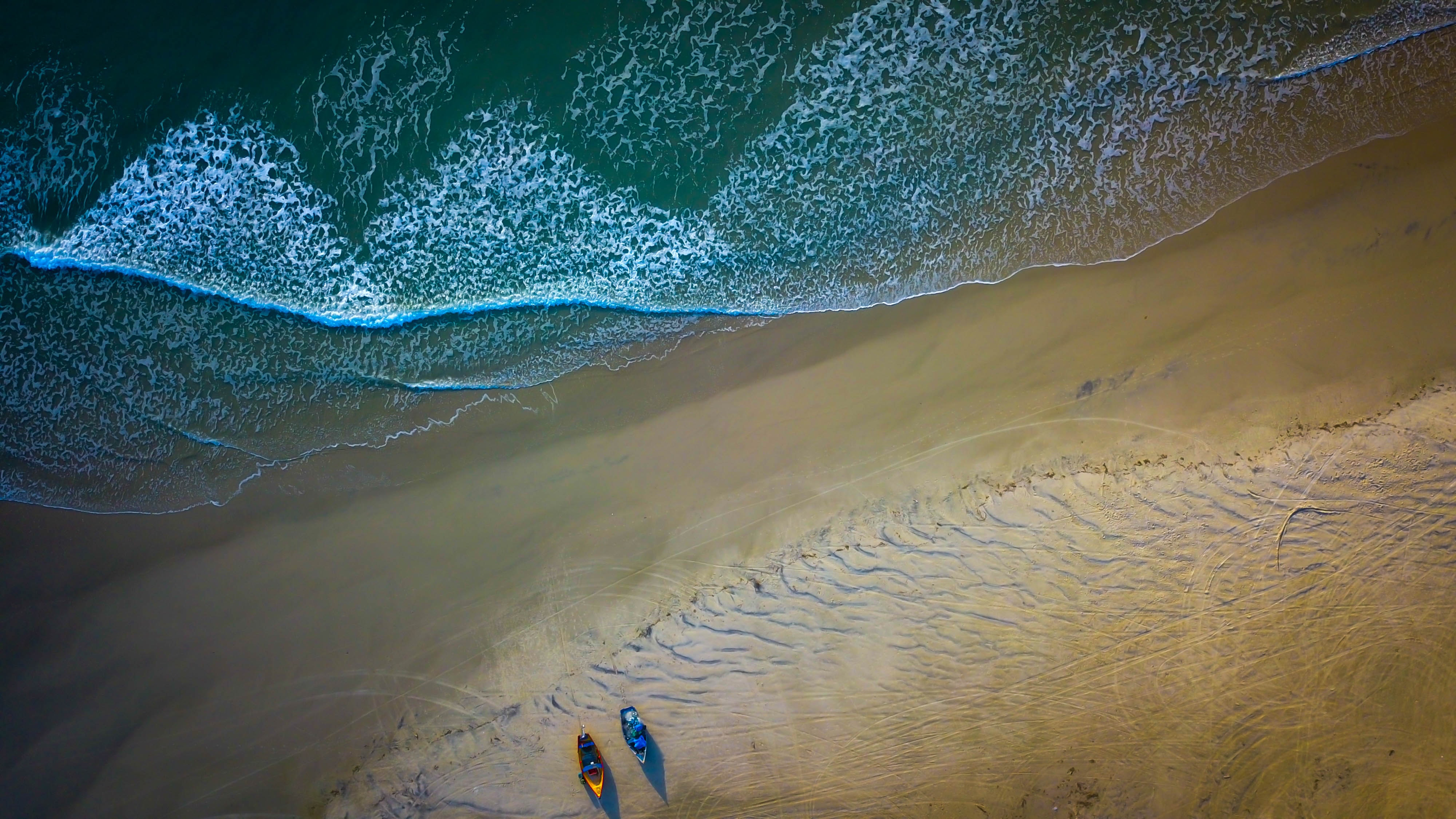 87138 download wallpaper View From Above, Nature, Sea, Beach, Boats screensavers and pictures for free