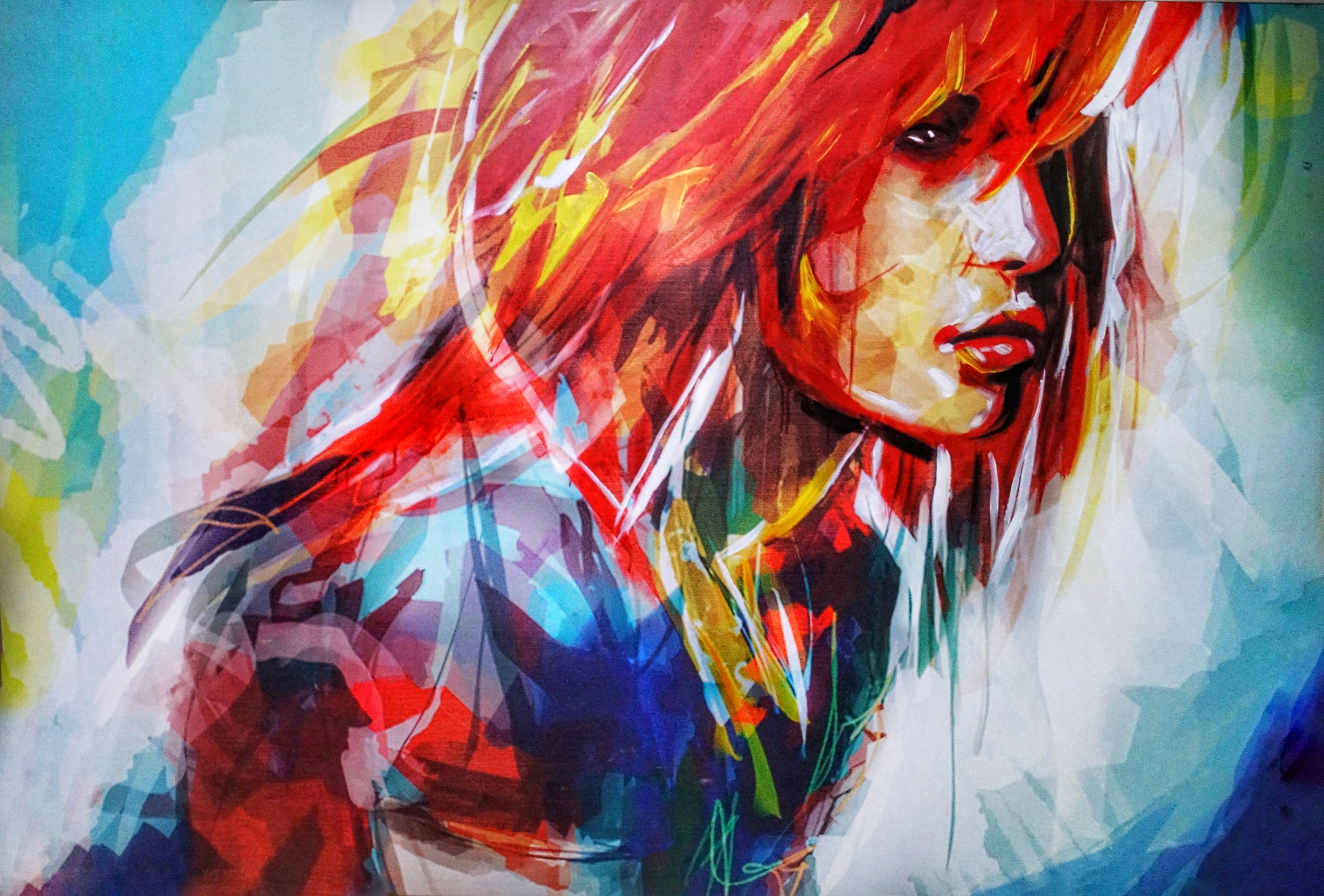 129749 papel de parede 720x1280 em seu telefone gratuitamente, baixe imagens Arte, Brilhante, Menina, Garota, Retrato, Cara, Rosto 720x1280 em seu celular