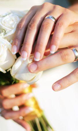 129442 Заставки и Обои Свадьба на телефон. Скачать Любовь, Руки, Свадьба, Букет, Розы, Кольца картинки бесплатно
