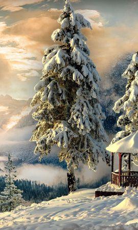 58322 Salvapantallas y fondos de pantalla Nieve en tu teléfono. Descarga imágenes de Naturaleza, Invierno, Hueco, Glorieta, Nieve, Niebla, Montañas gratis