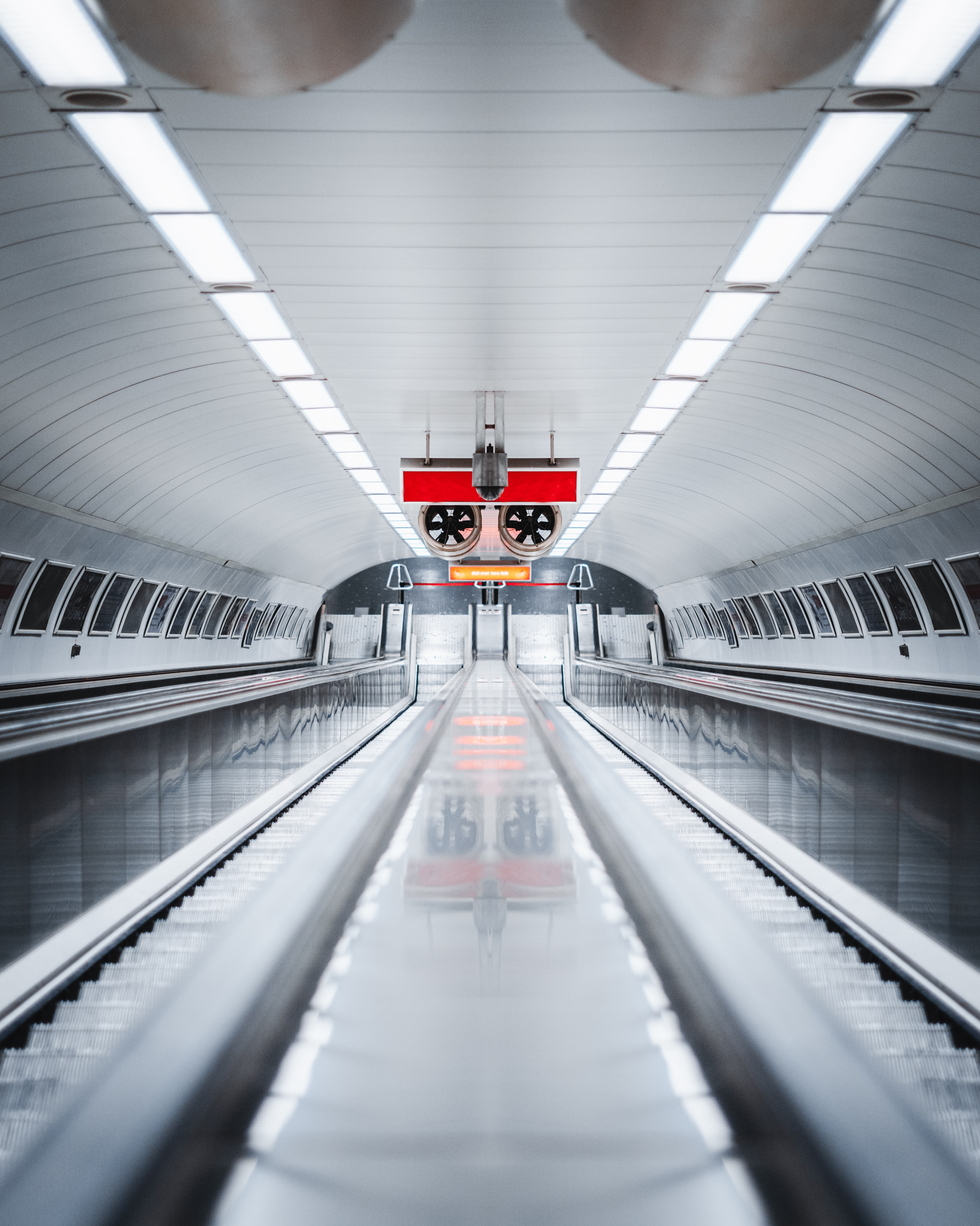 143201 Screensavers and Wallpapers Metro for phone. Download Interior, Miscellanea, Miscellaneous, Illumination, Lighting, Tunnel, Metro, Subway, Escalator pictures for free