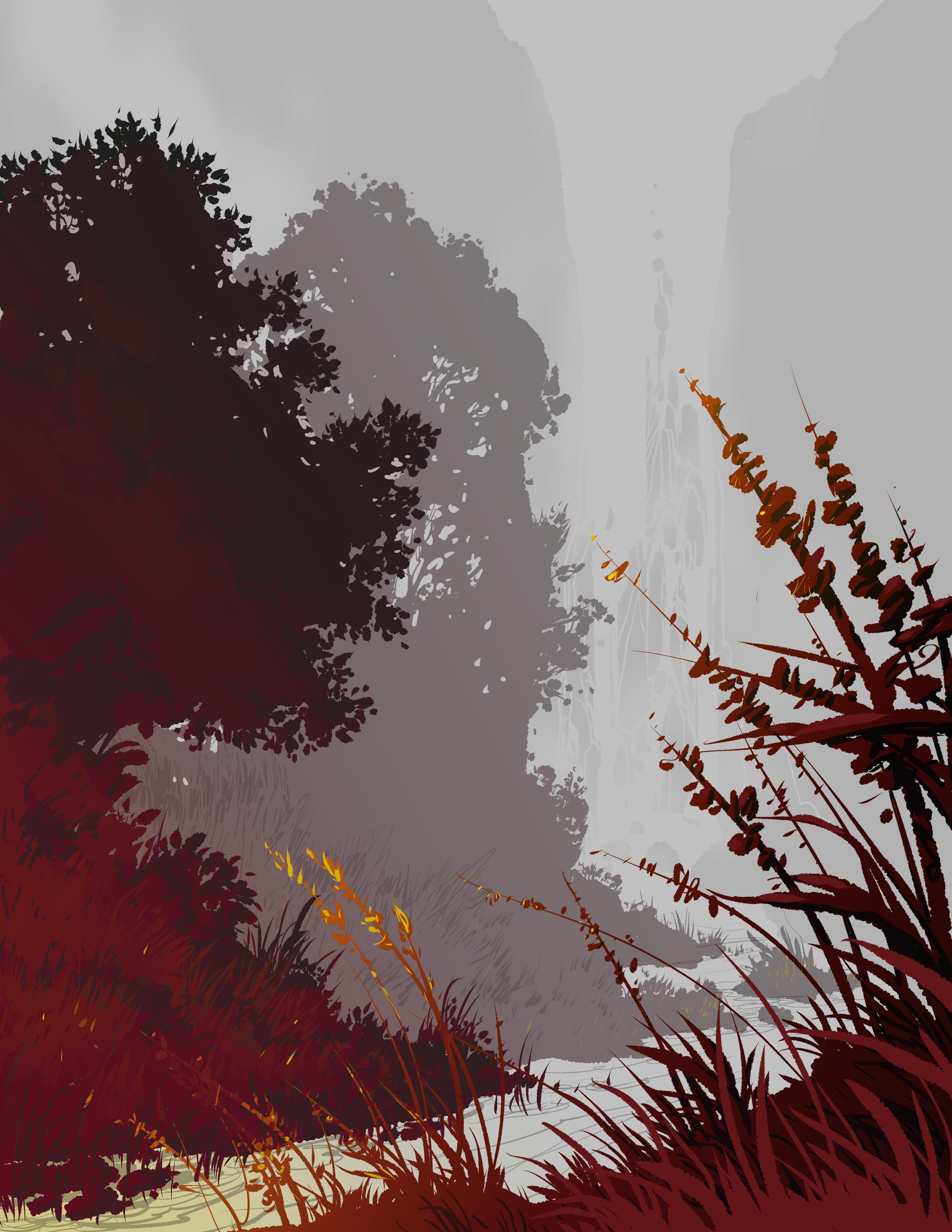 91807 Заставки и Обои Вектор на телефон. Скачать Пейзаж, Вектор, Деревья, Река, Трава, Арт картинки бесплатно