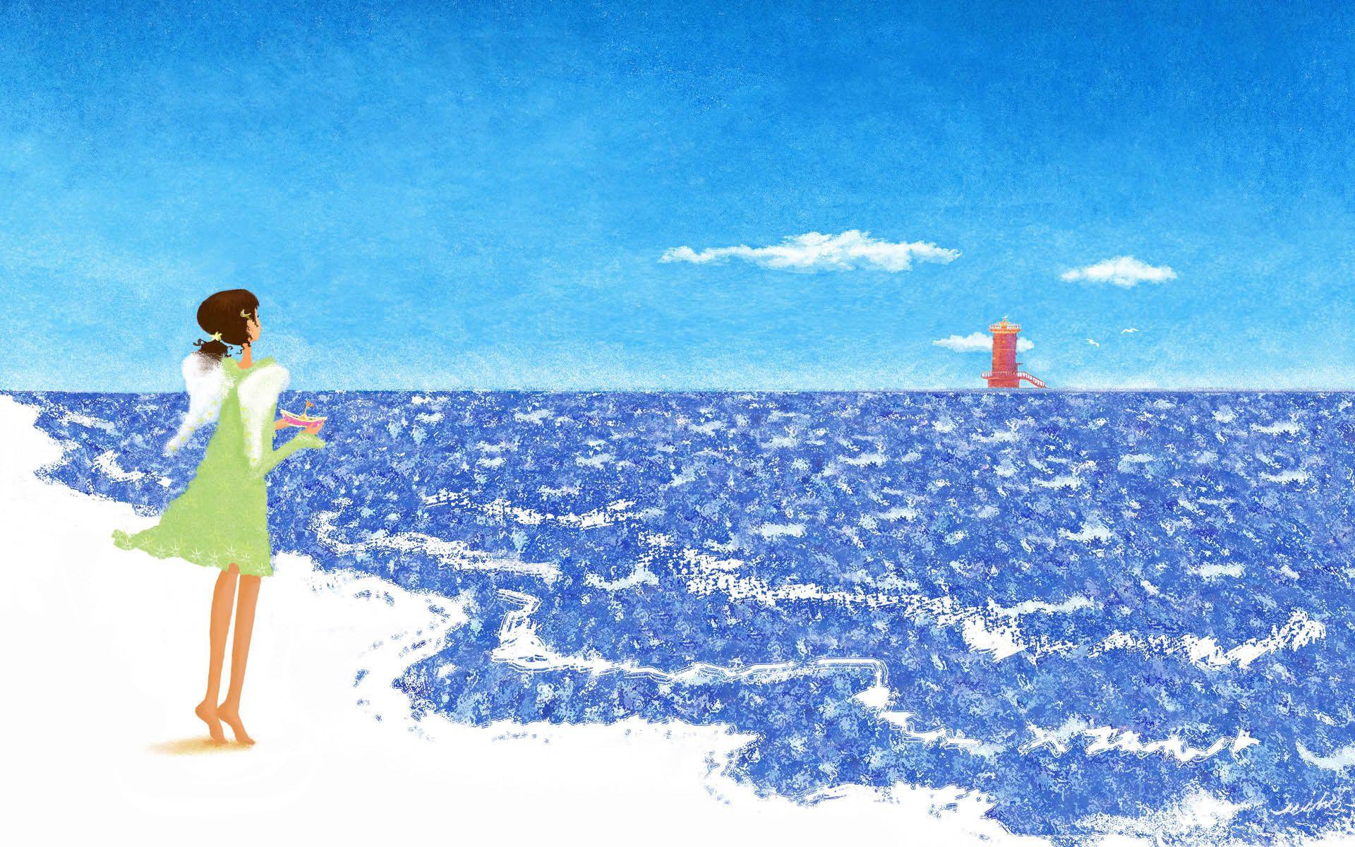 158160 скачать обои Разное, Море, Девушка, Прогулка, Фон - заставки и картинки бесплатно