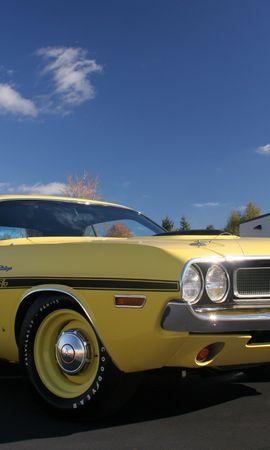154762 завантажити Жовтий шпалери на телефон безкоштовно, Тачки, Dodge, Ухилитися, Challenger, Челленджер, Вид Збоку Жовтий картинки і заставки на мобільний