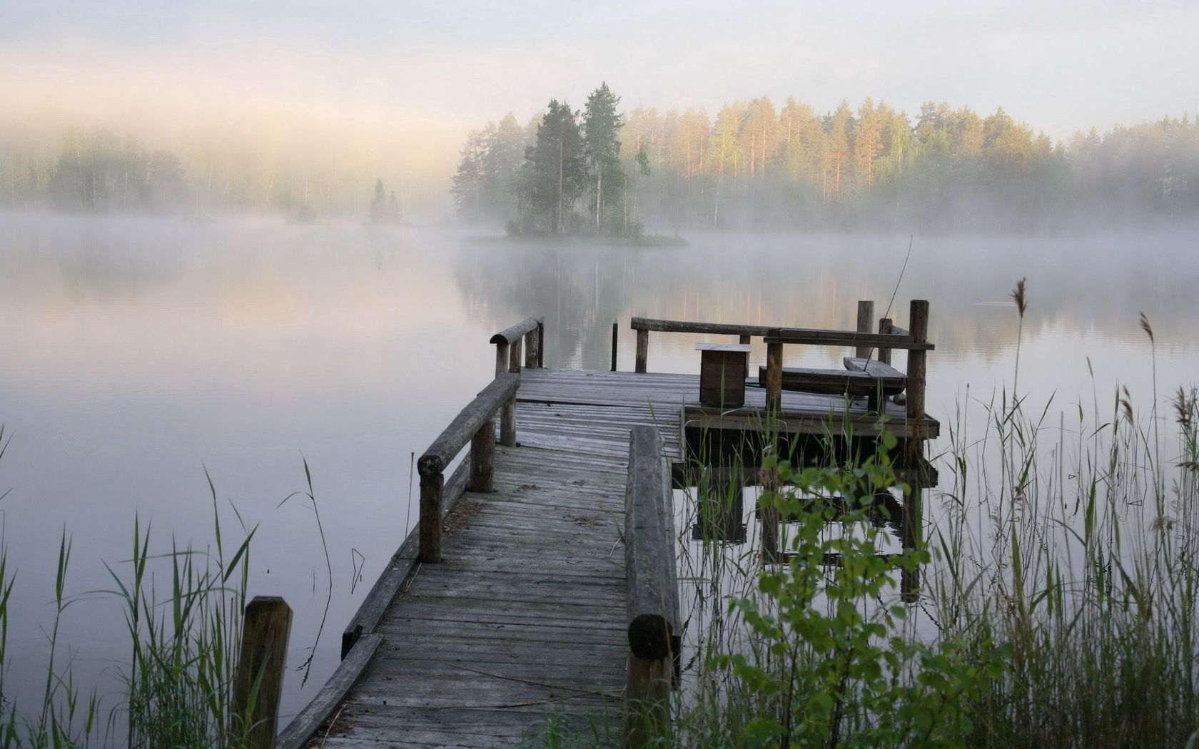 110627 download wallpaper Nature, Pier, Bench, Lake, Fog, Cool, Coolness screensavers and pictures for free