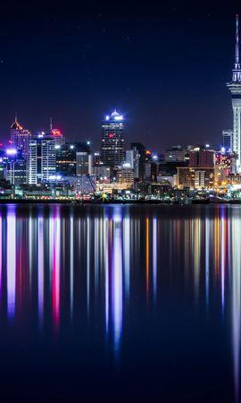 77321壁紙のダウンロードニュージーランド, パノラマ, 高層ビル, 高 層 ビル, 建物, 軒, ショア, 銀行, 点灯, 照明, 都市-スクリーンセーバーと写真を無料で