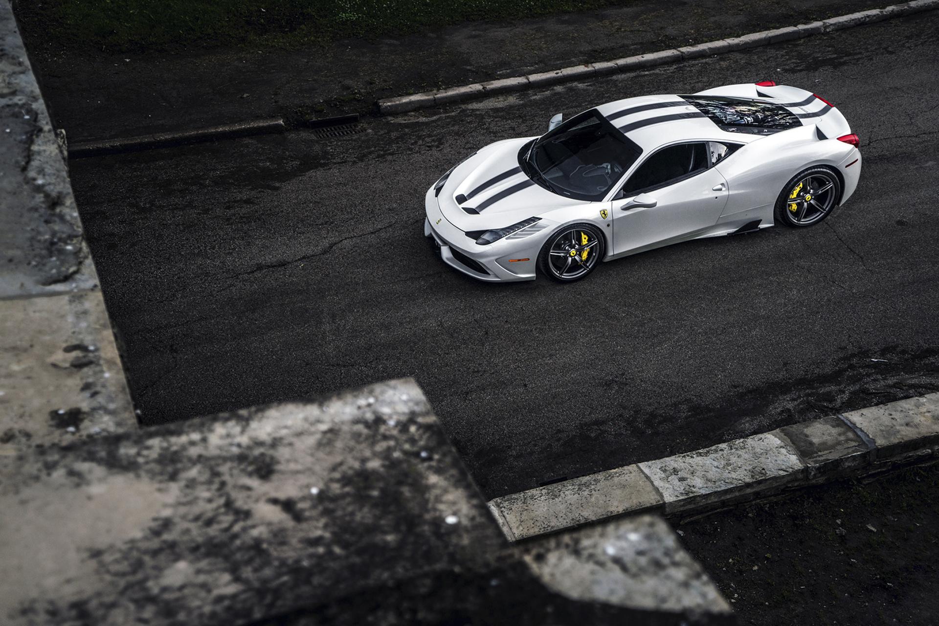 100485 скачать обои Тачки (Cars), Феррари (Ferrari), 458, Вид Сверху, Машины - заставки и картинки бесплатно