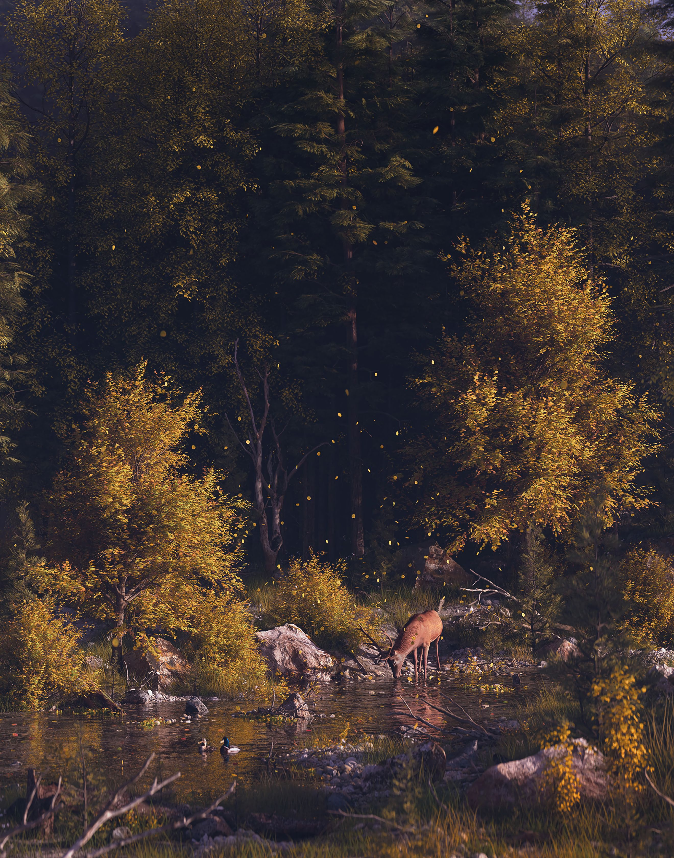 69878 download wallpaper Nature, Deer, Forest, Art, Rivers, Wildlife, Landscape screensavers and pictures for free