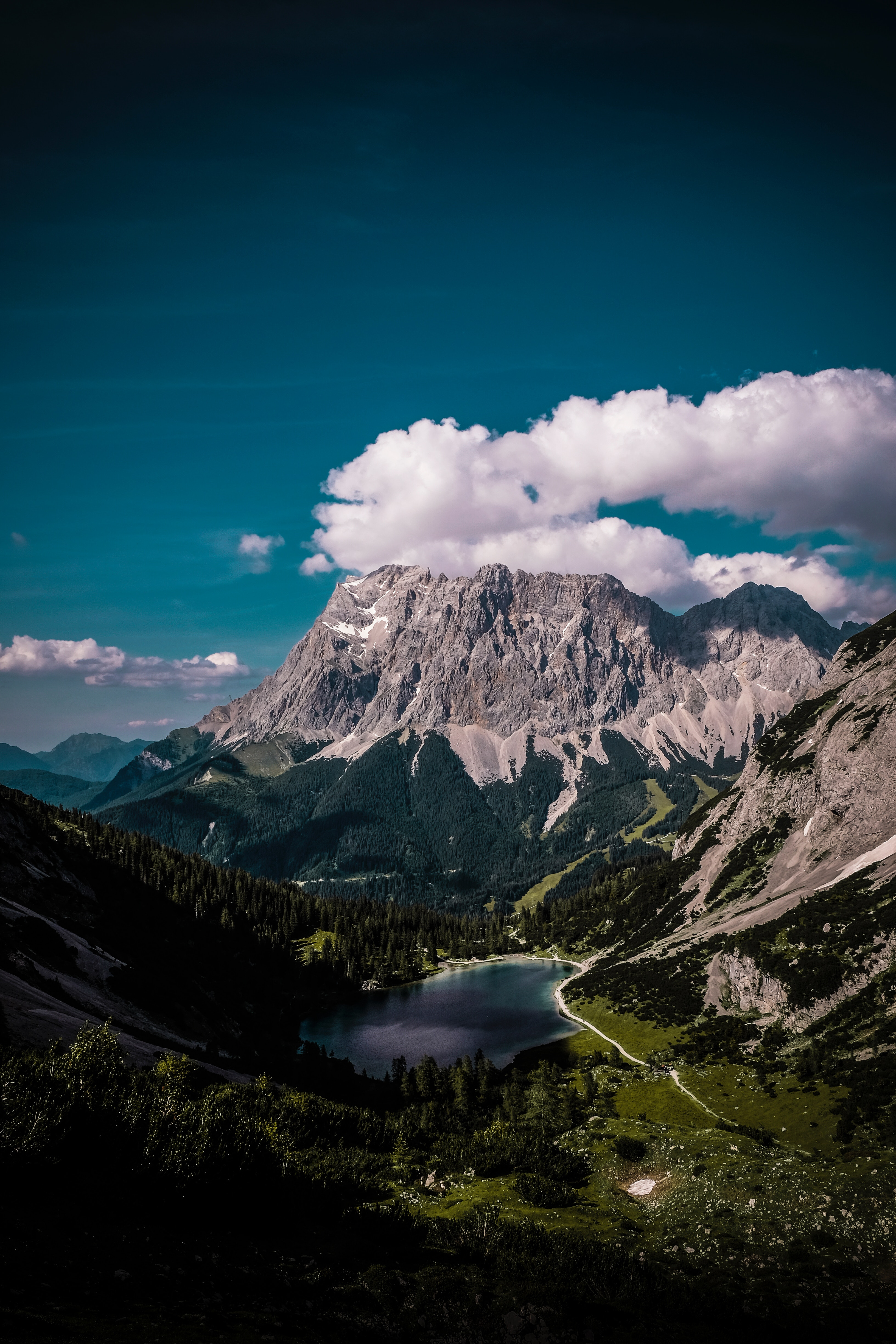 154812 download wallpaper Nature, Mountains, Clouds, View From Above, Vertex, Top, Lake, Austria, Erwald, Ehrwald screensavers and pictures for free