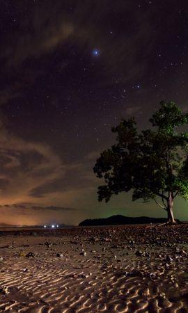 145267 скачать обои Природа, Звездное Небо, Дерево, Песок, Ночь, Ко Ланта, Таиланд - заставки и картинки бесплатно