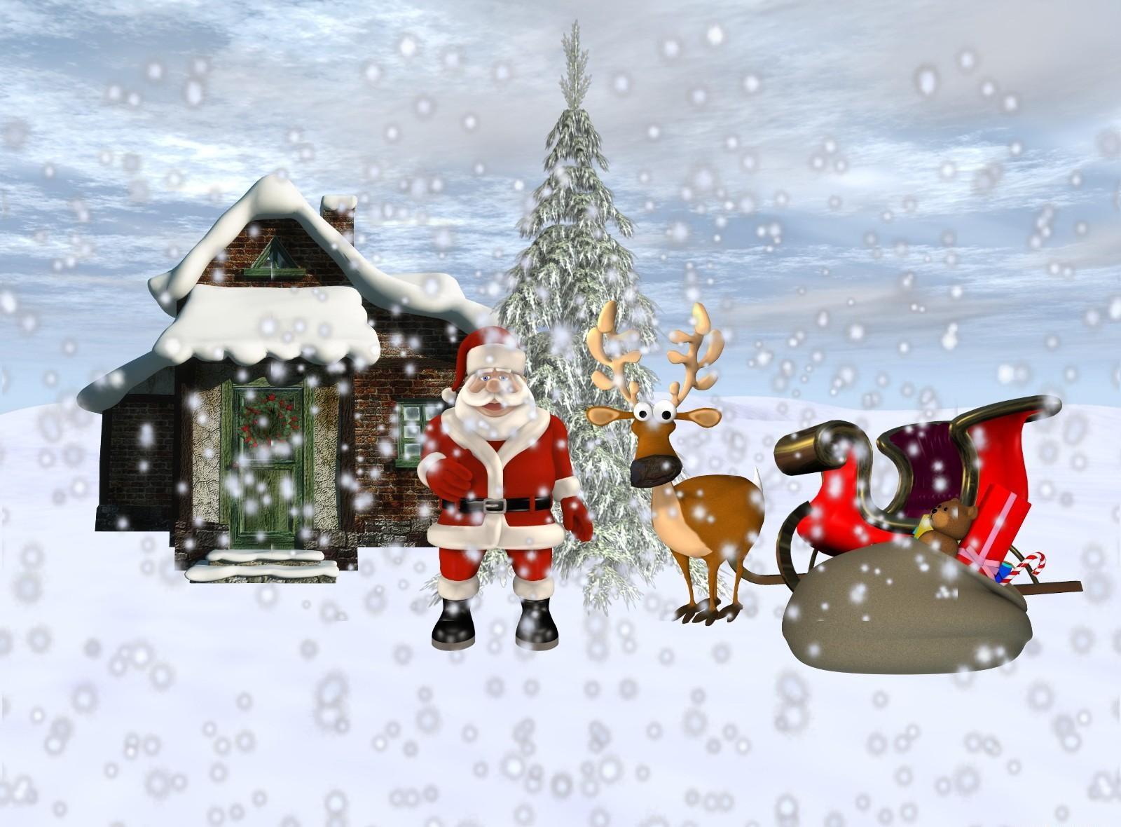 70495 descargar fondo de pantalla Vacaciones, Papá Noel, Ciervo, Trineo, Presenta, Regalos, Casa, Nieve, Árbol De Navidad: protectores de pantalla e imágenes gratis