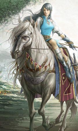 134761 baixar papel de parede Fantasia, Menina, Garota, Guerreiro, Cavalo, Arma, Estrada, Caminho, Árvores - protetores de tela e imagens gratuitamente